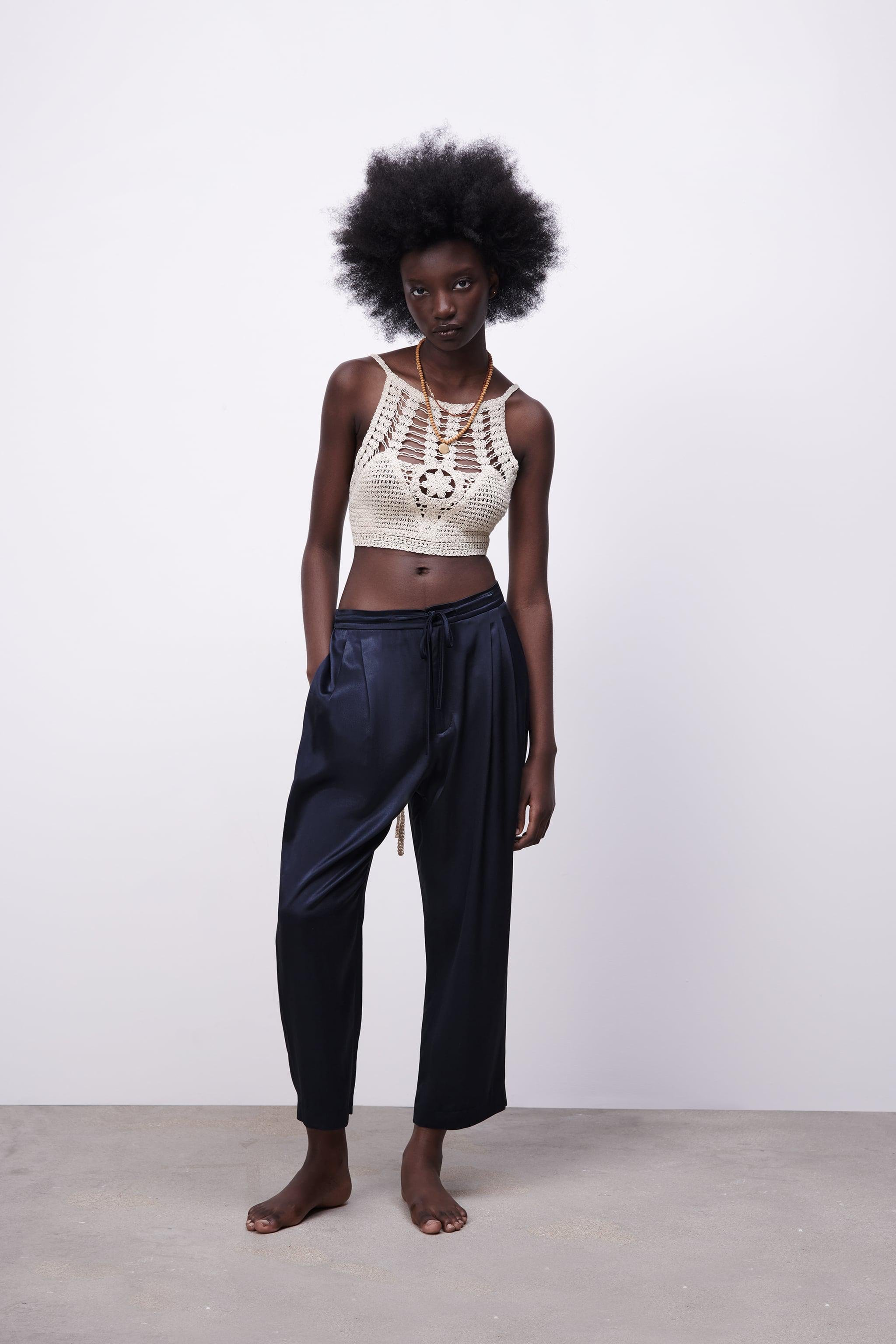 SATIN EFFECT PLEATED PANTS