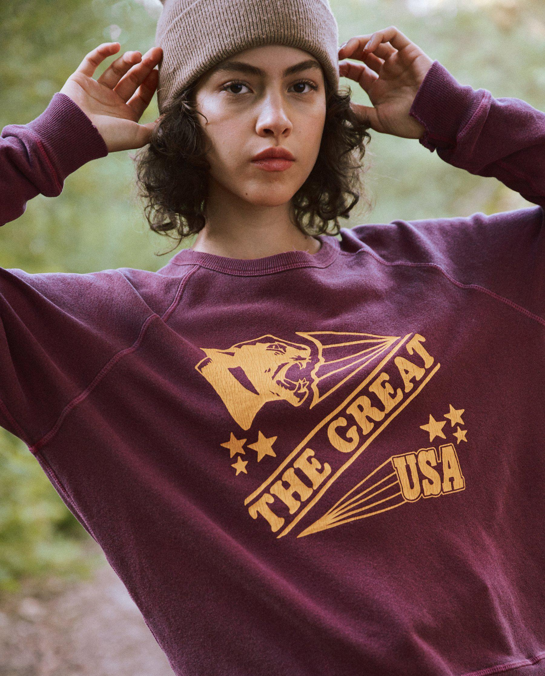 The College Sweatshirt. Graphic -- Rosehip with Cougar Graphic