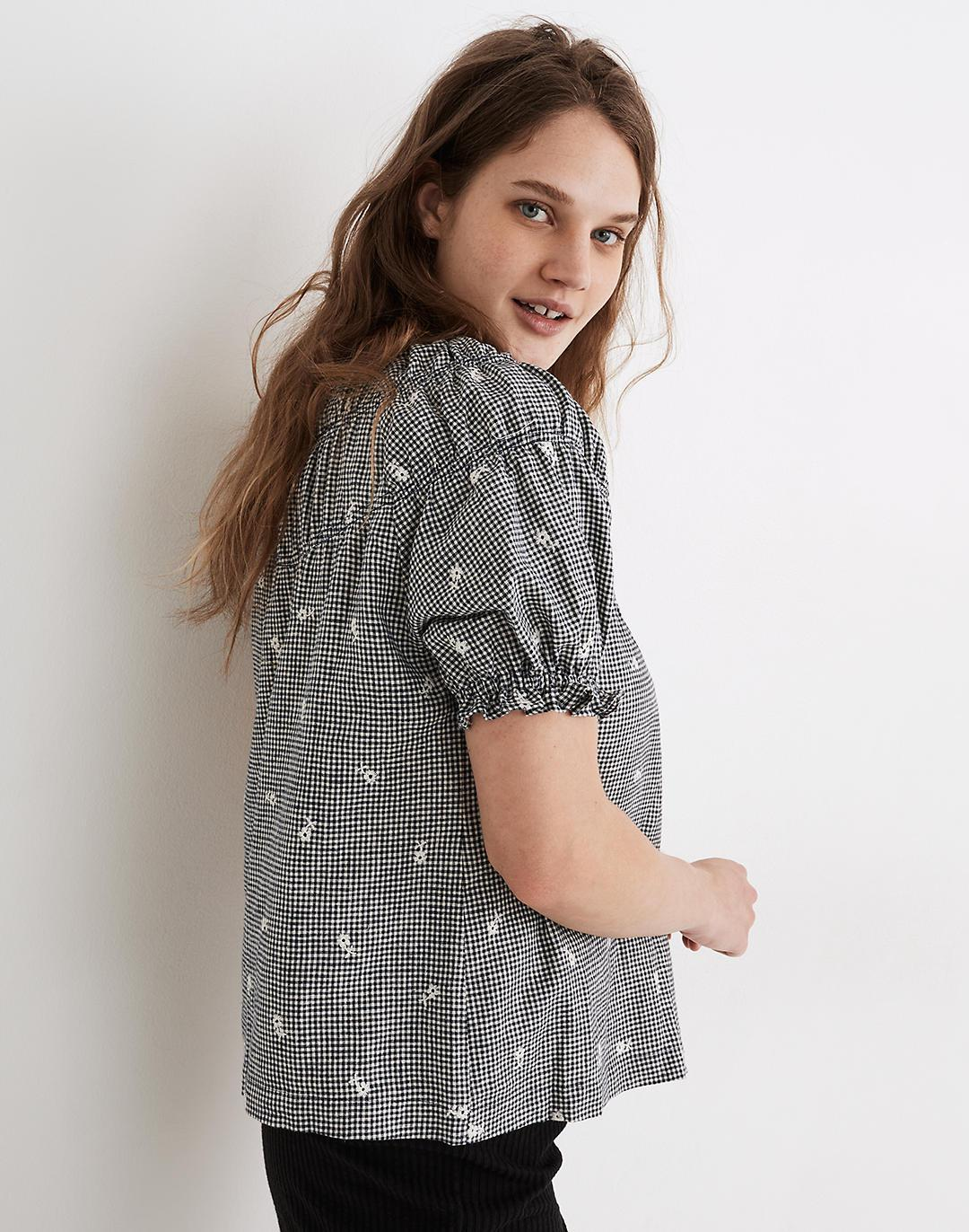 Embroidered Gingham Shirred Puff-Sleeve Top 1
