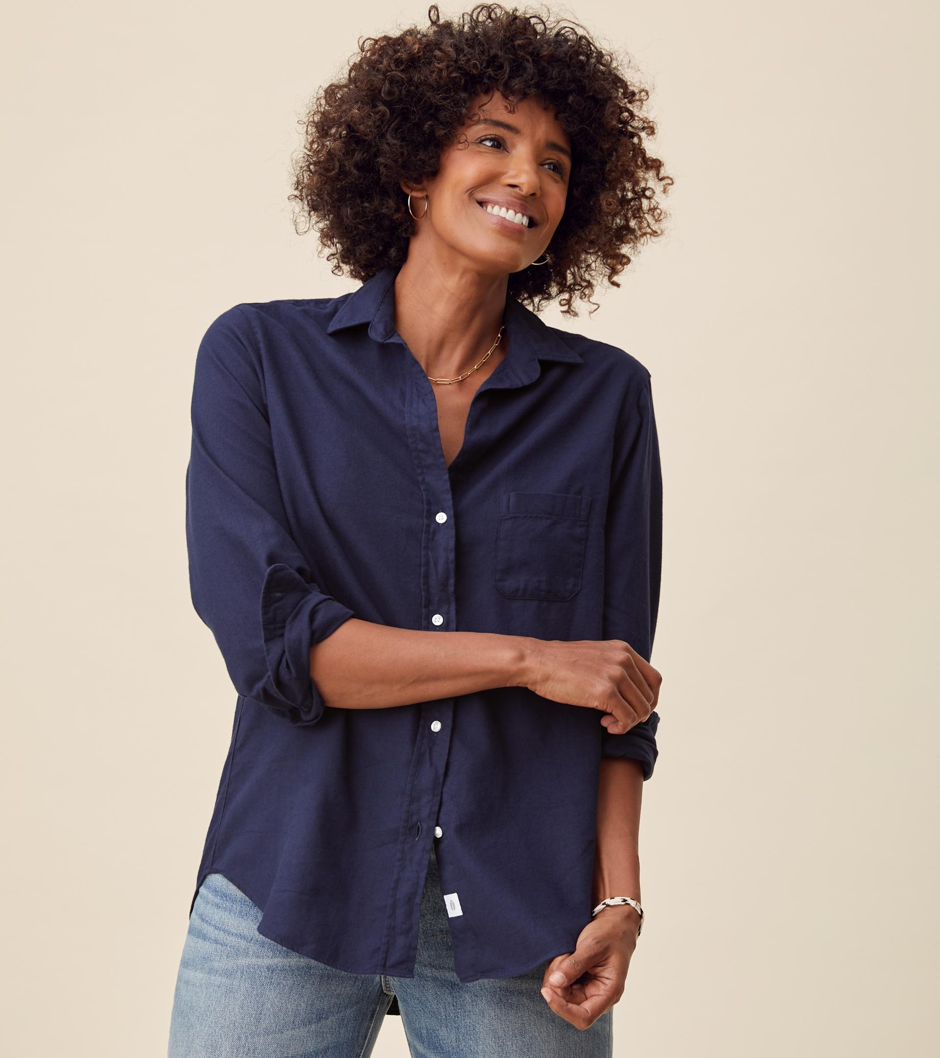 The Hero Button-Up Shirt Navy, Feathered Flannel