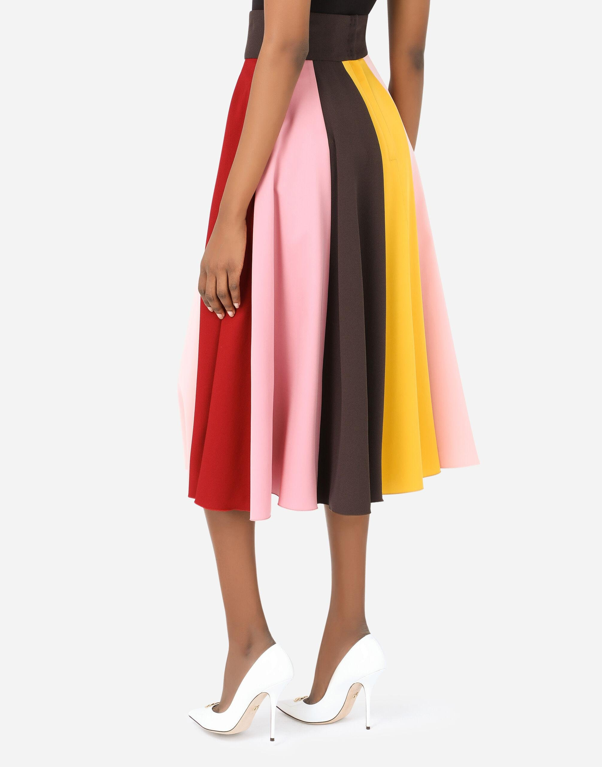 Multi-colored charmeuse and cady midi skirt 3
