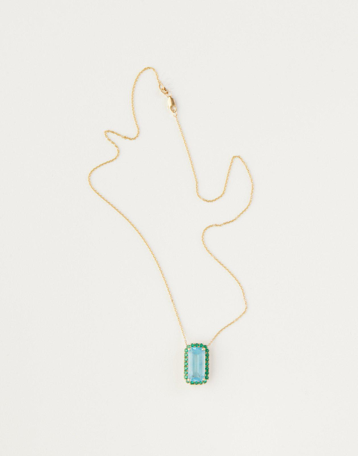 London Blue Topaz with Green Crystal Pendant