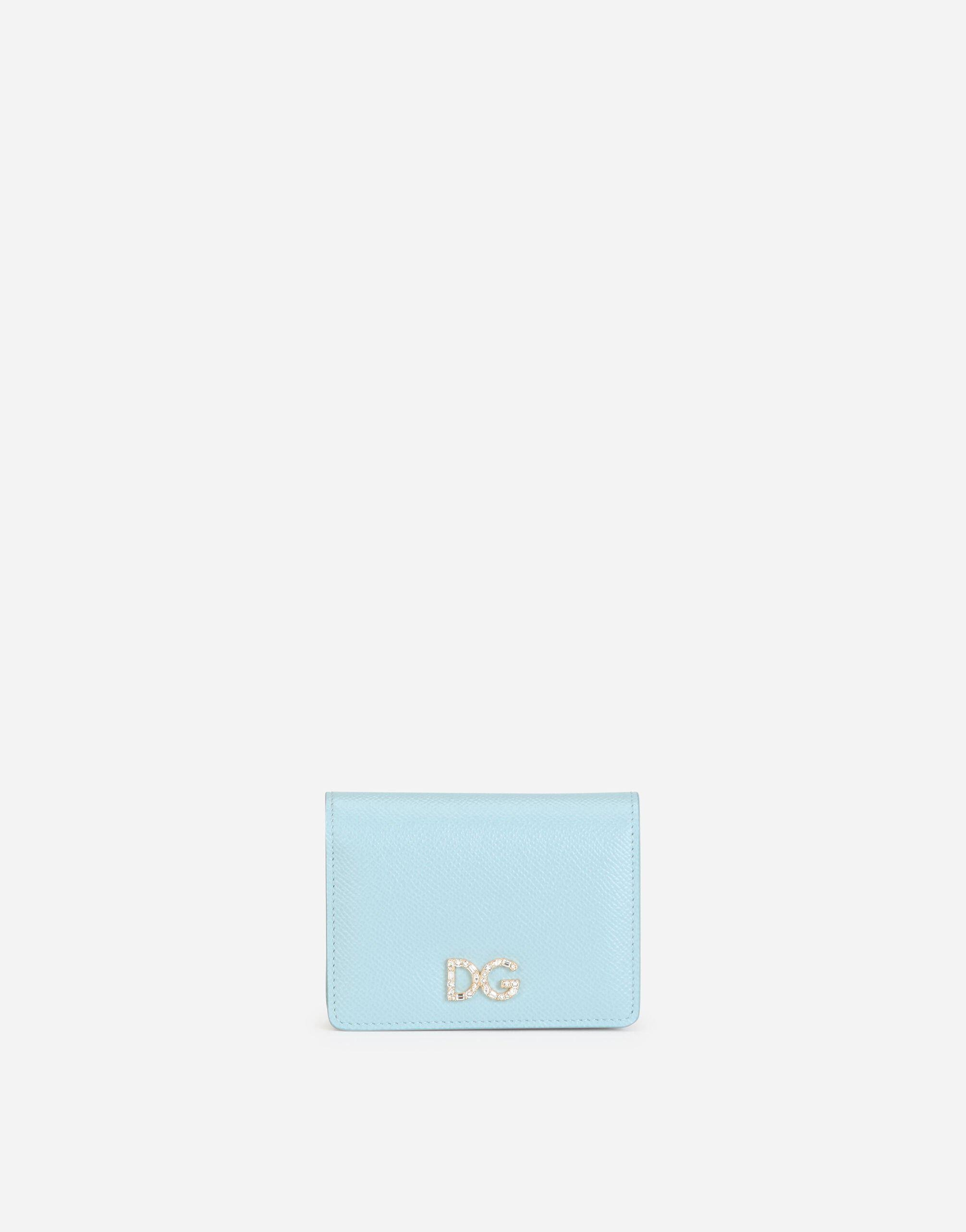 Small dauphine calfskin continental wallet with rhinestone-detailed DG logo