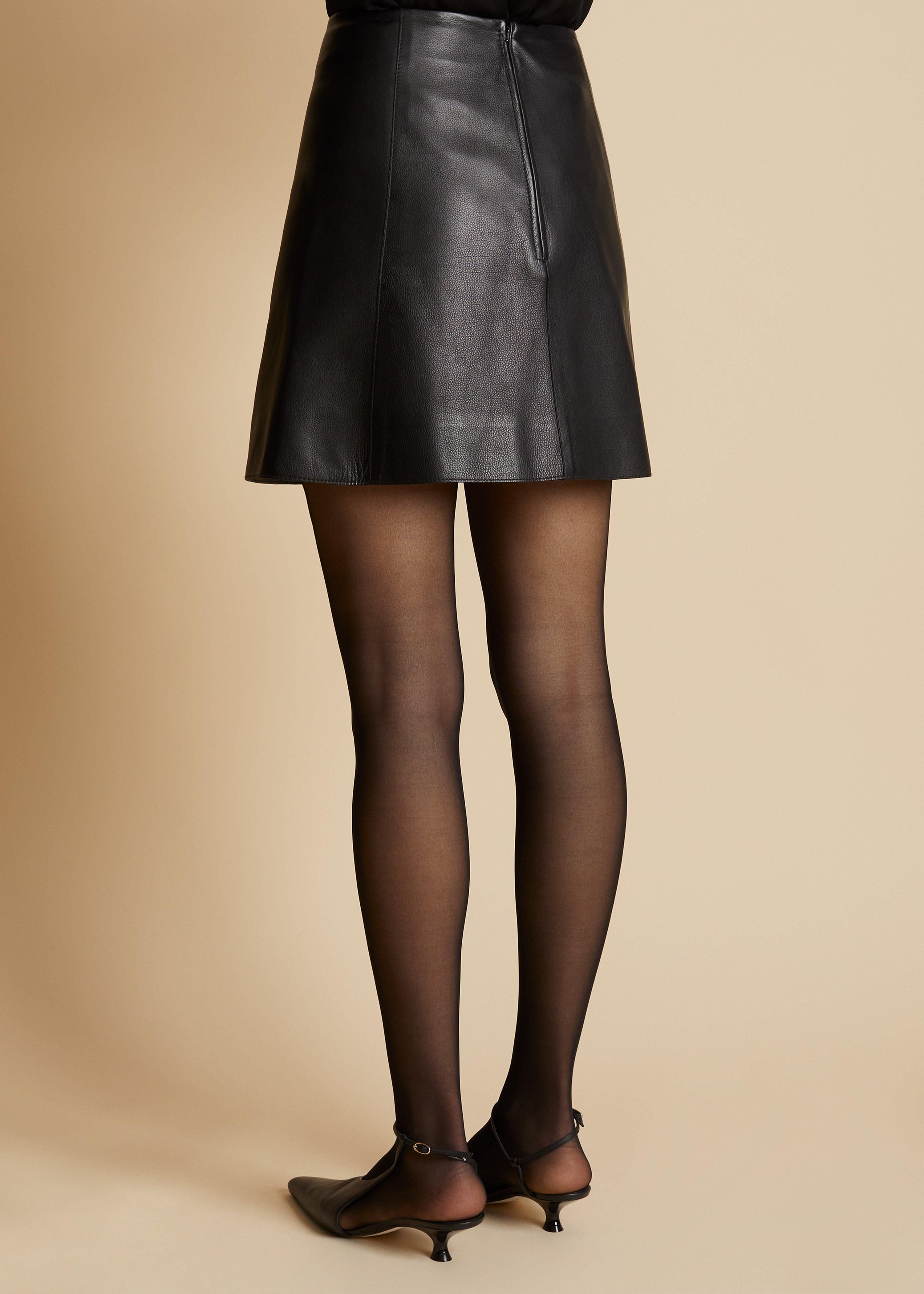 The Sam Skirt in Black Leather 2