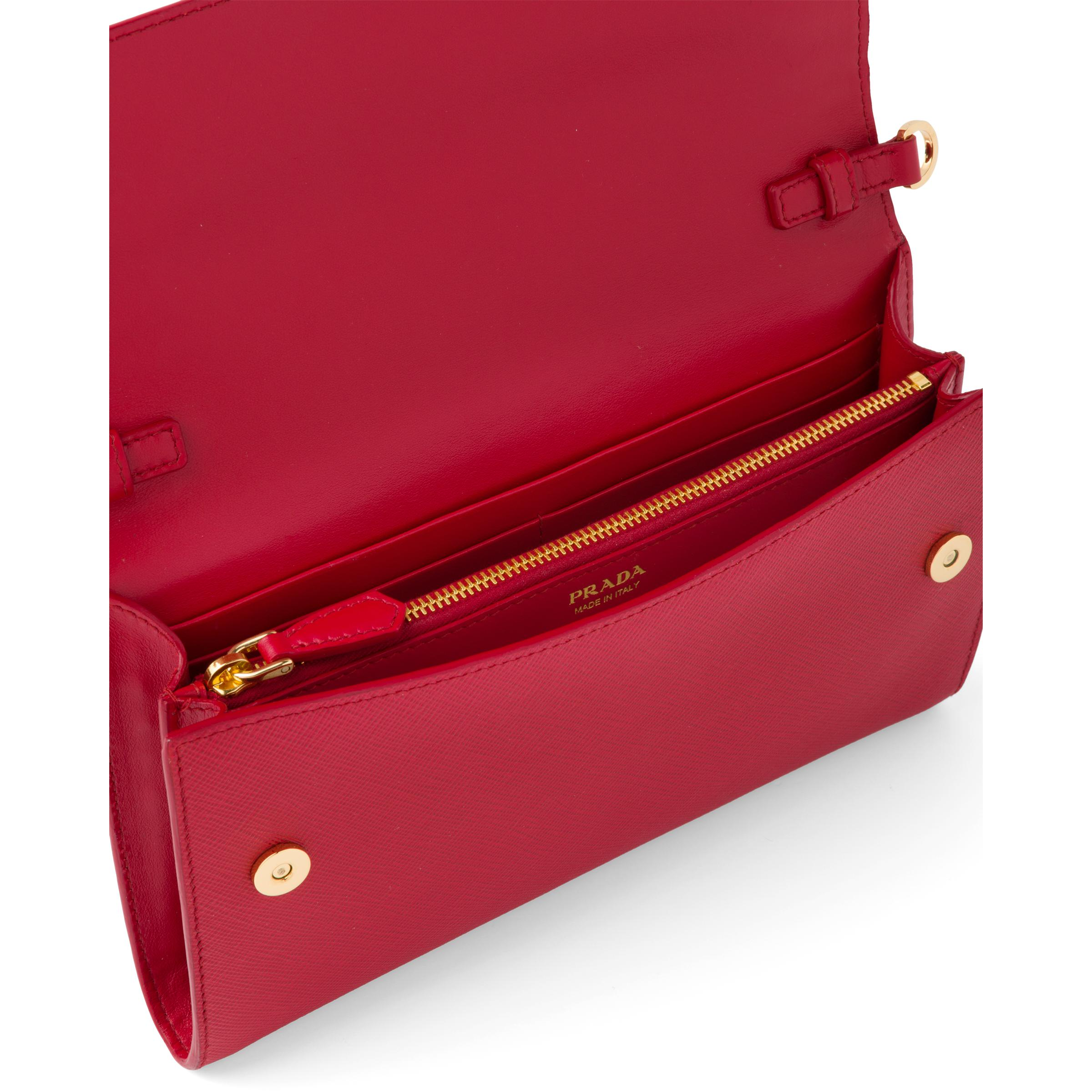 Saffiano And Leather Wallet With Shoulder Strap Women Fiery Red 4