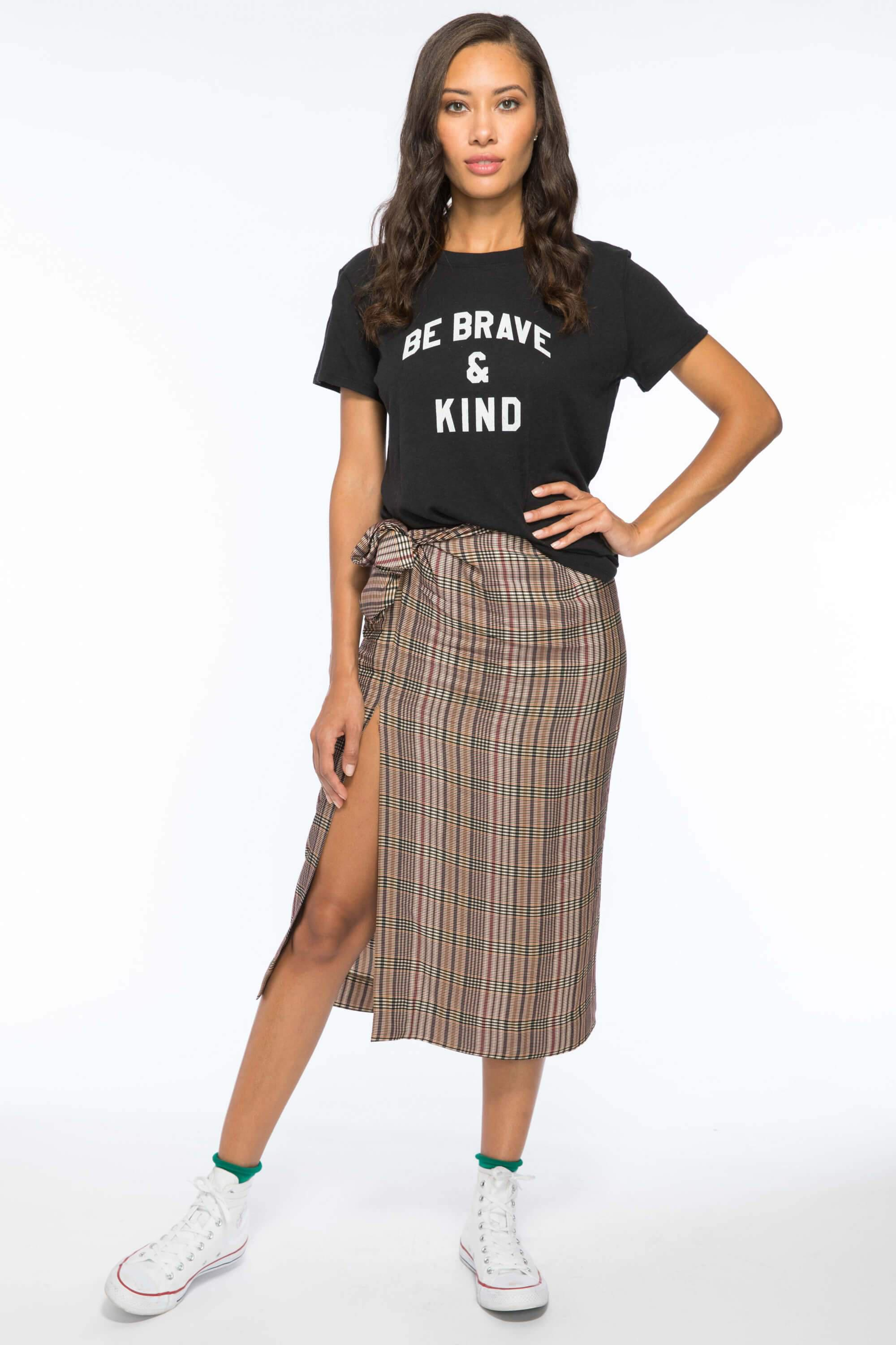 BE BRAVE AND KIND LOOSE TEE - BLACK 1