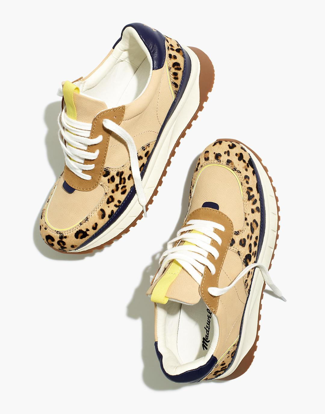 Kickoff Trainer Sneakers in Colorblock Leather and Leopard Calf Hair