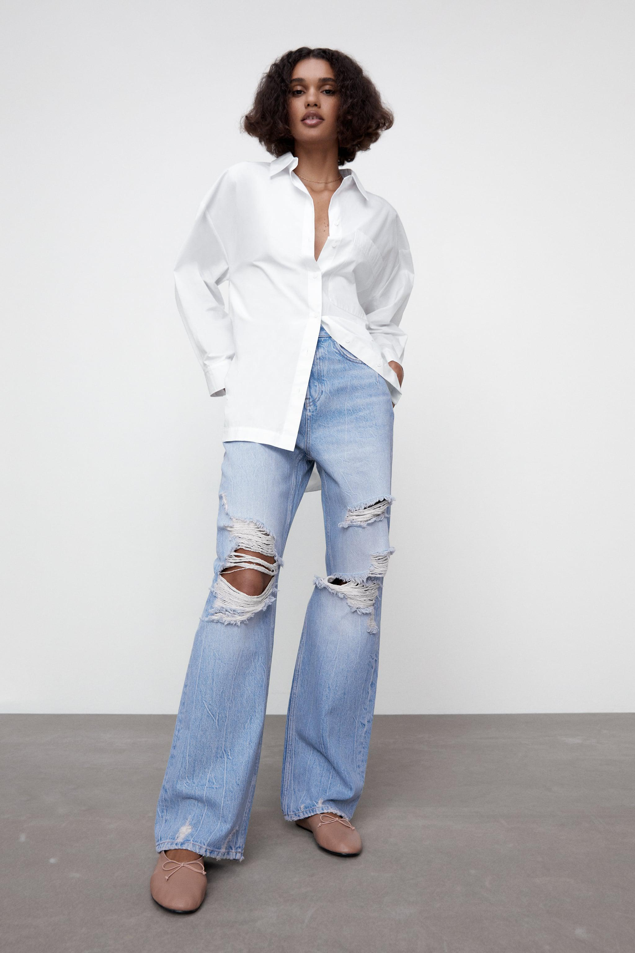 Z1975 HI-RISE STRAIGHT LEG JEANS WITH RIPS