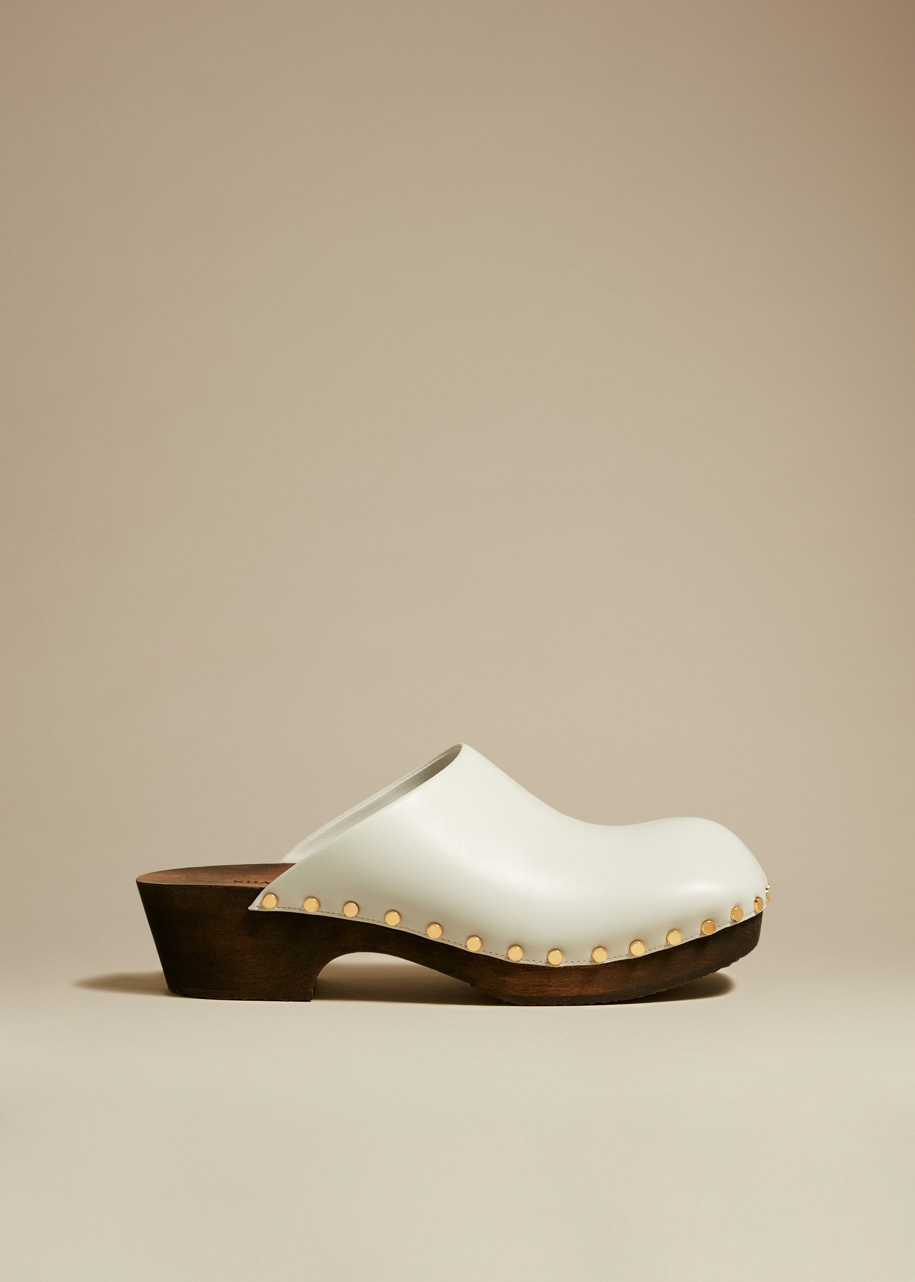 The Lucca Clog in White Leather