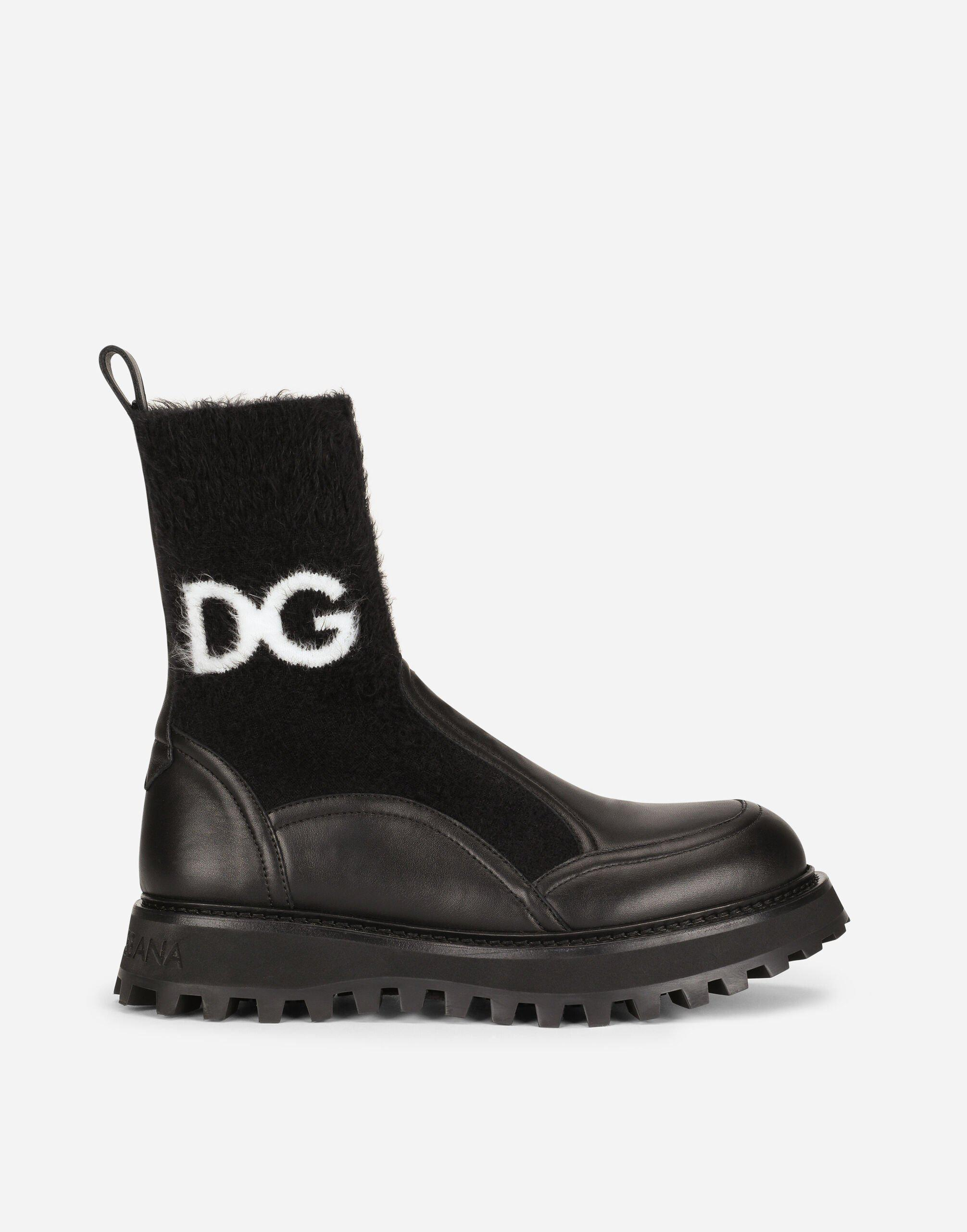 Horse calfskin ankle boots with branded sock