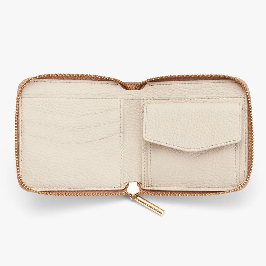 Women's Small Classic Zip Around Wallet in Cappuccino   Pebbled Leather by Cuyana 2