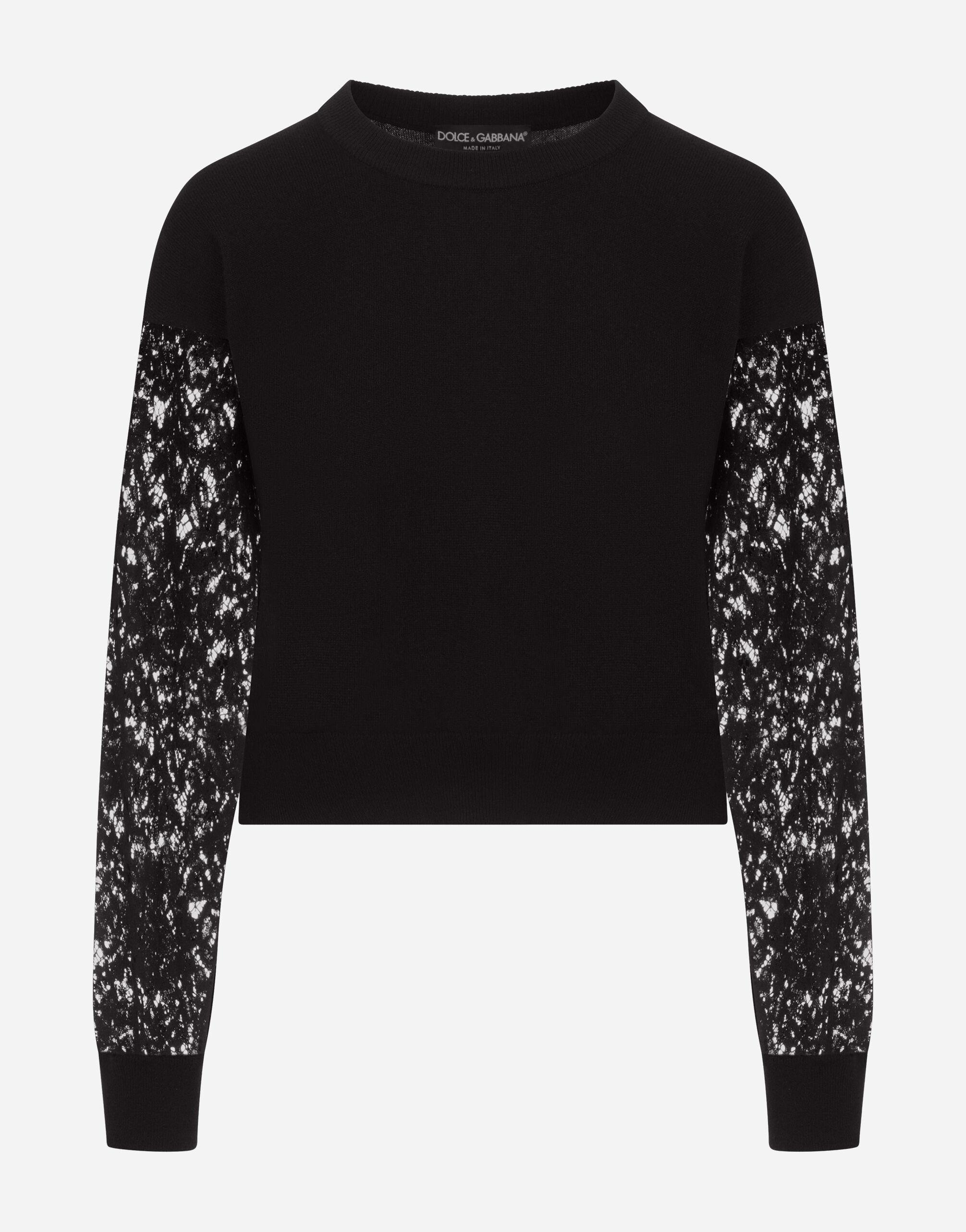 Cashmere sweater with lace sleeves 3
