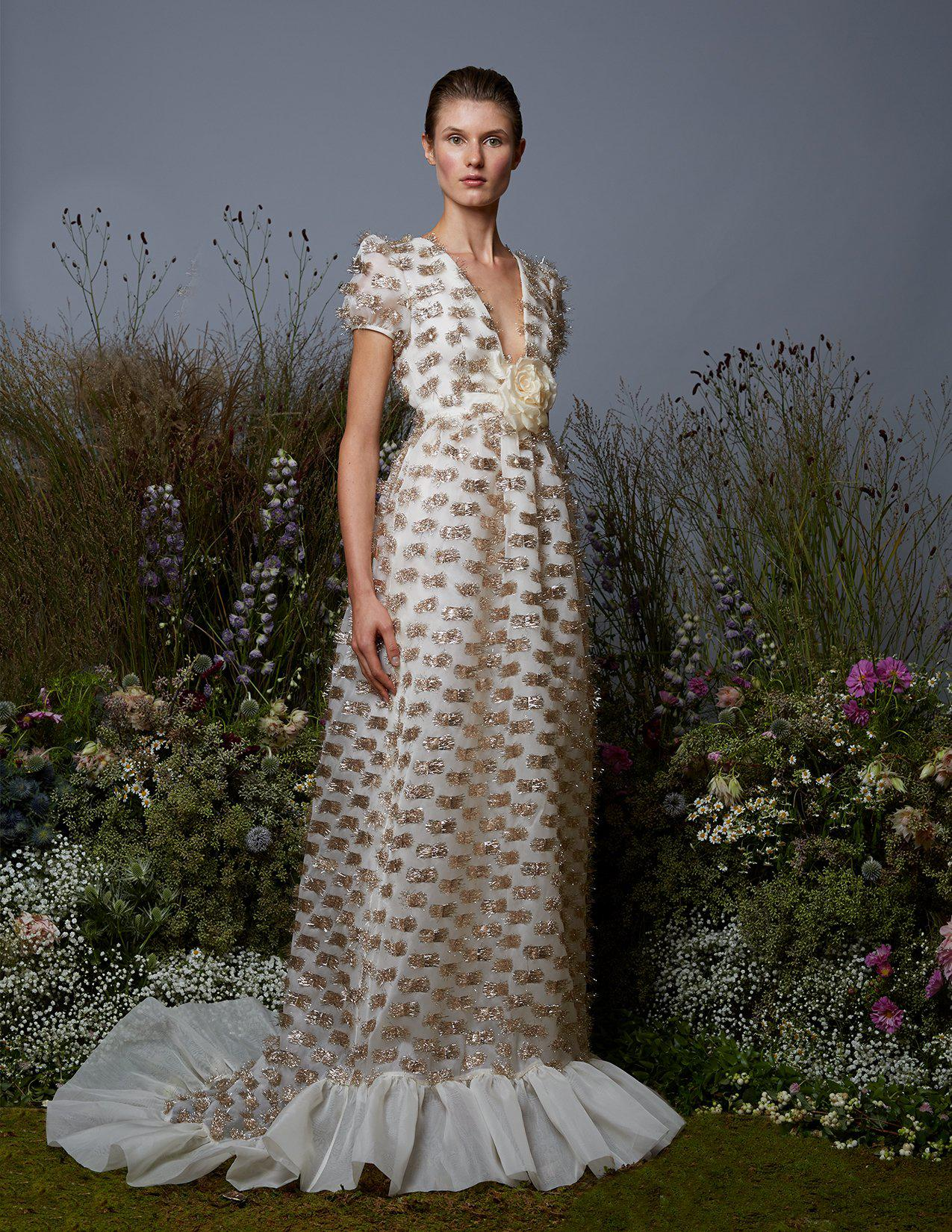 Forget Me Not White and Gold Gown