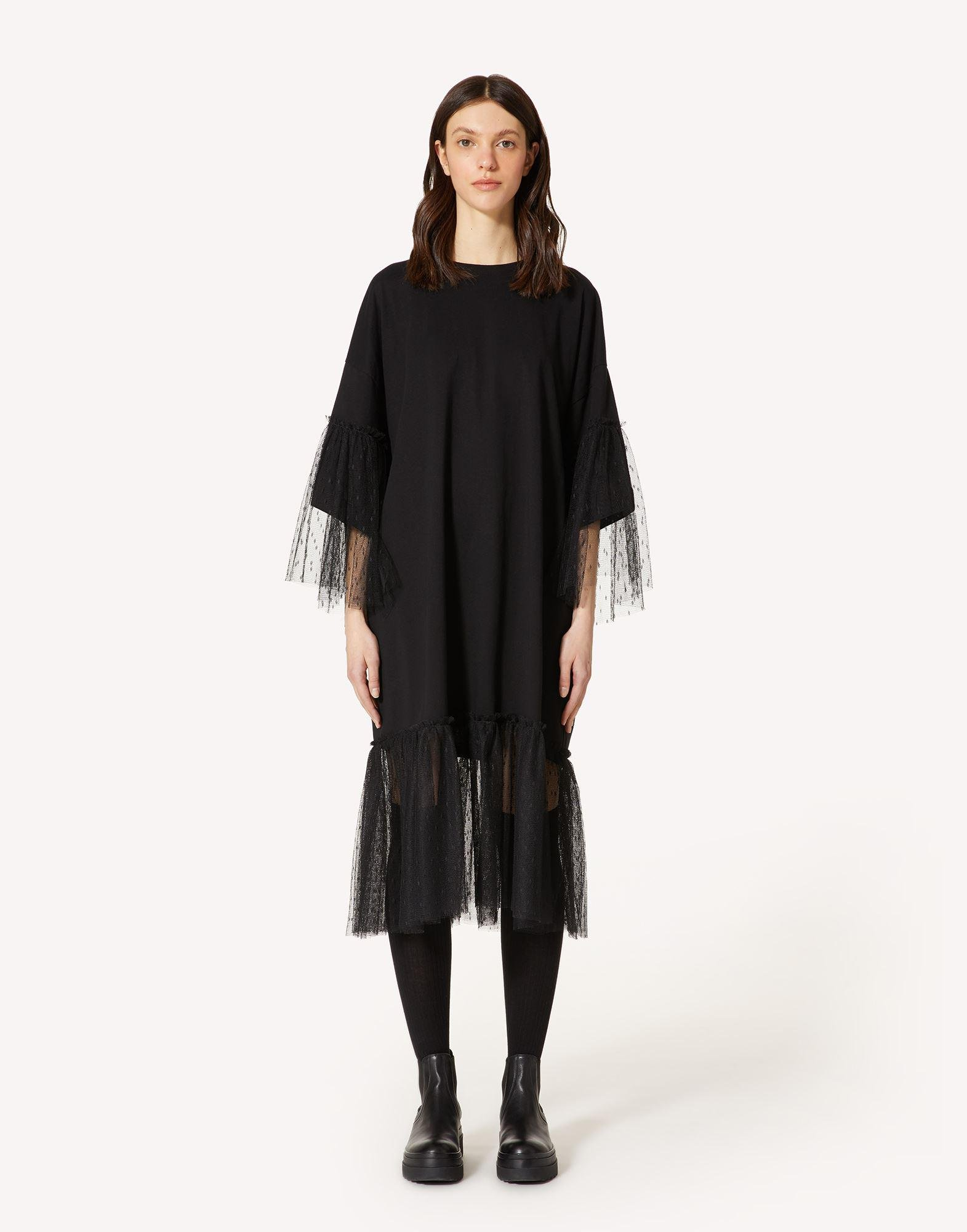 """""""THE BLACK TAG"""" - JERSEY DRESS WITH POINT D'ESPRIT TULLE"""