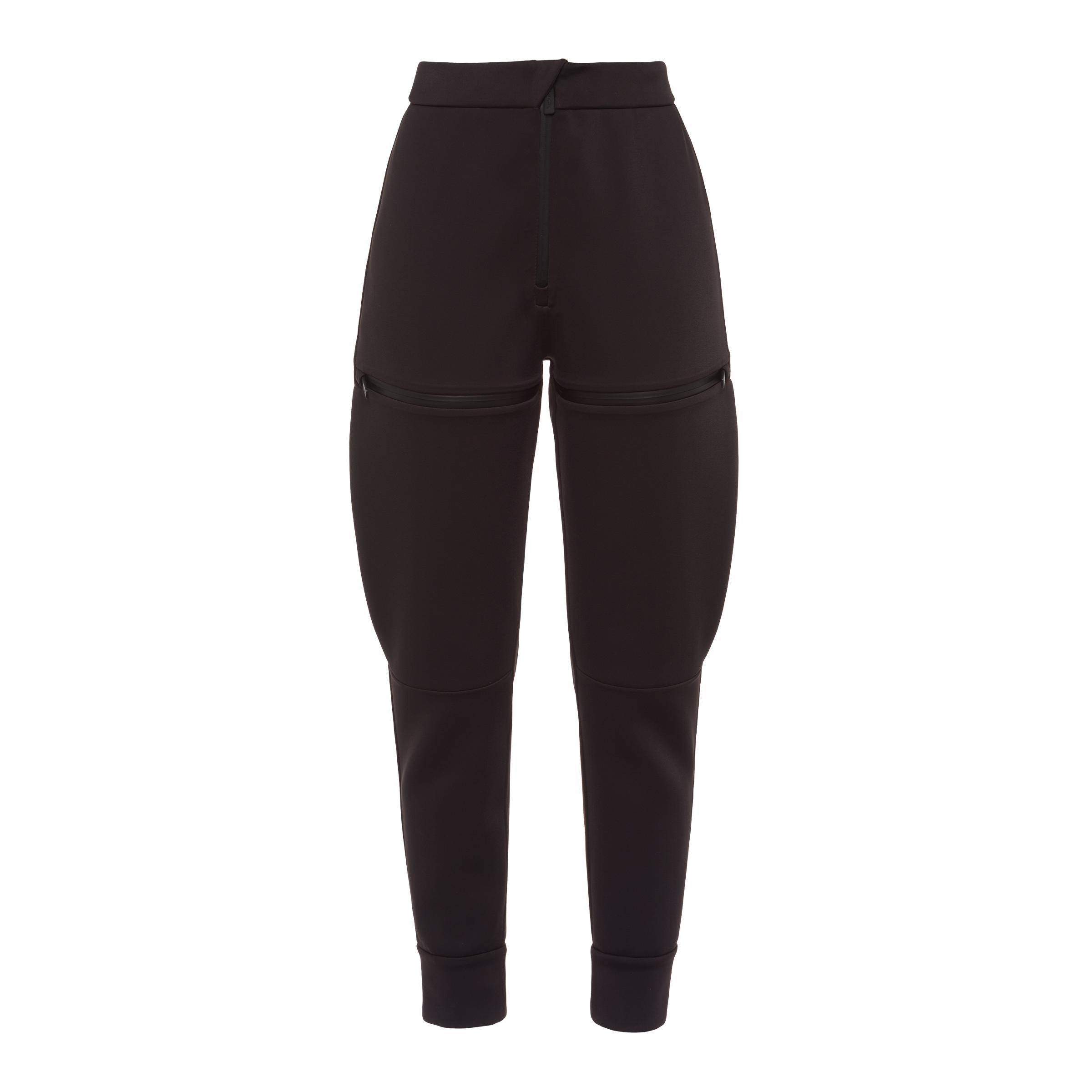 Double Technical Jersey Joggers With Zippers Women Black