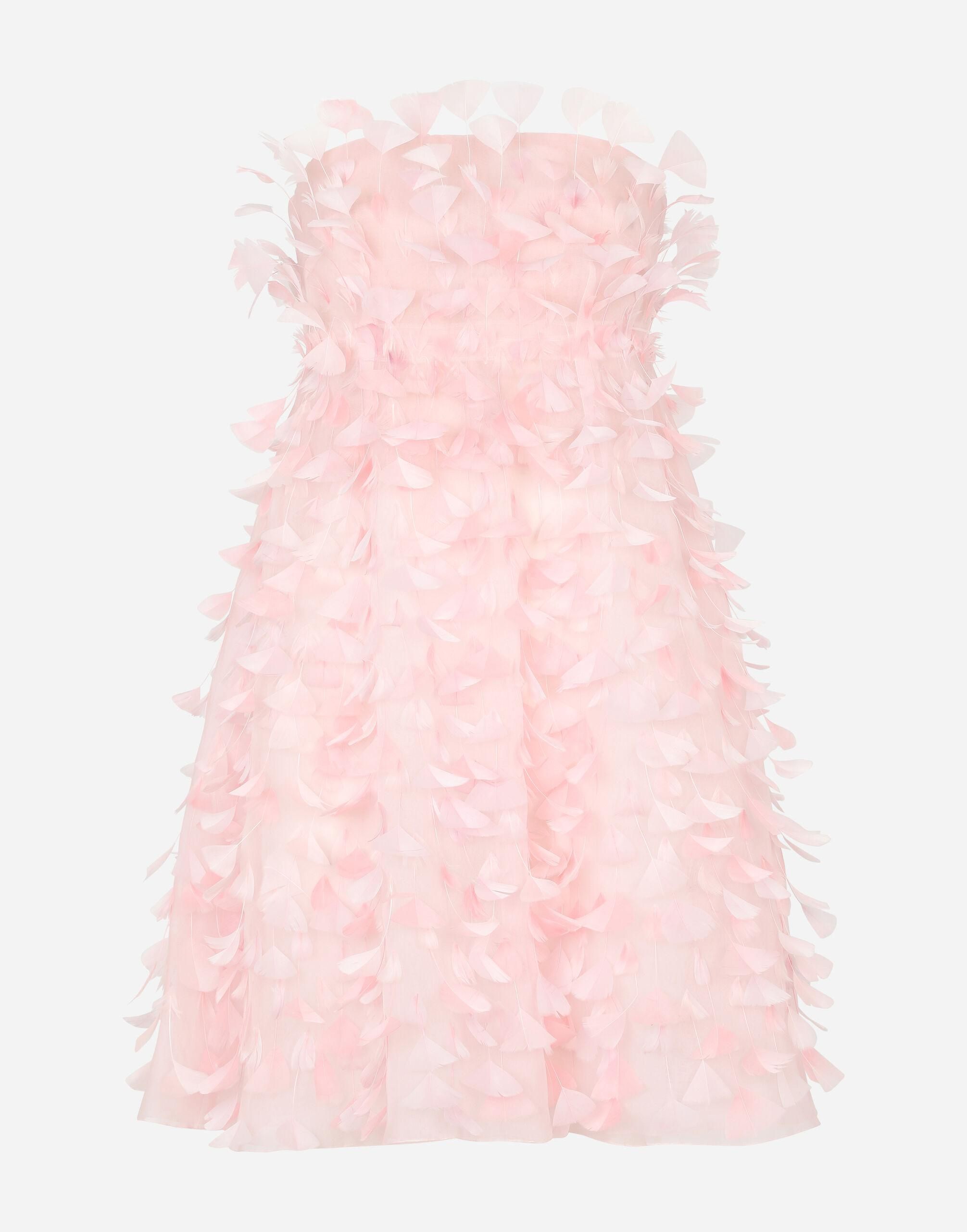 Short organza dress with feather embellishment 5