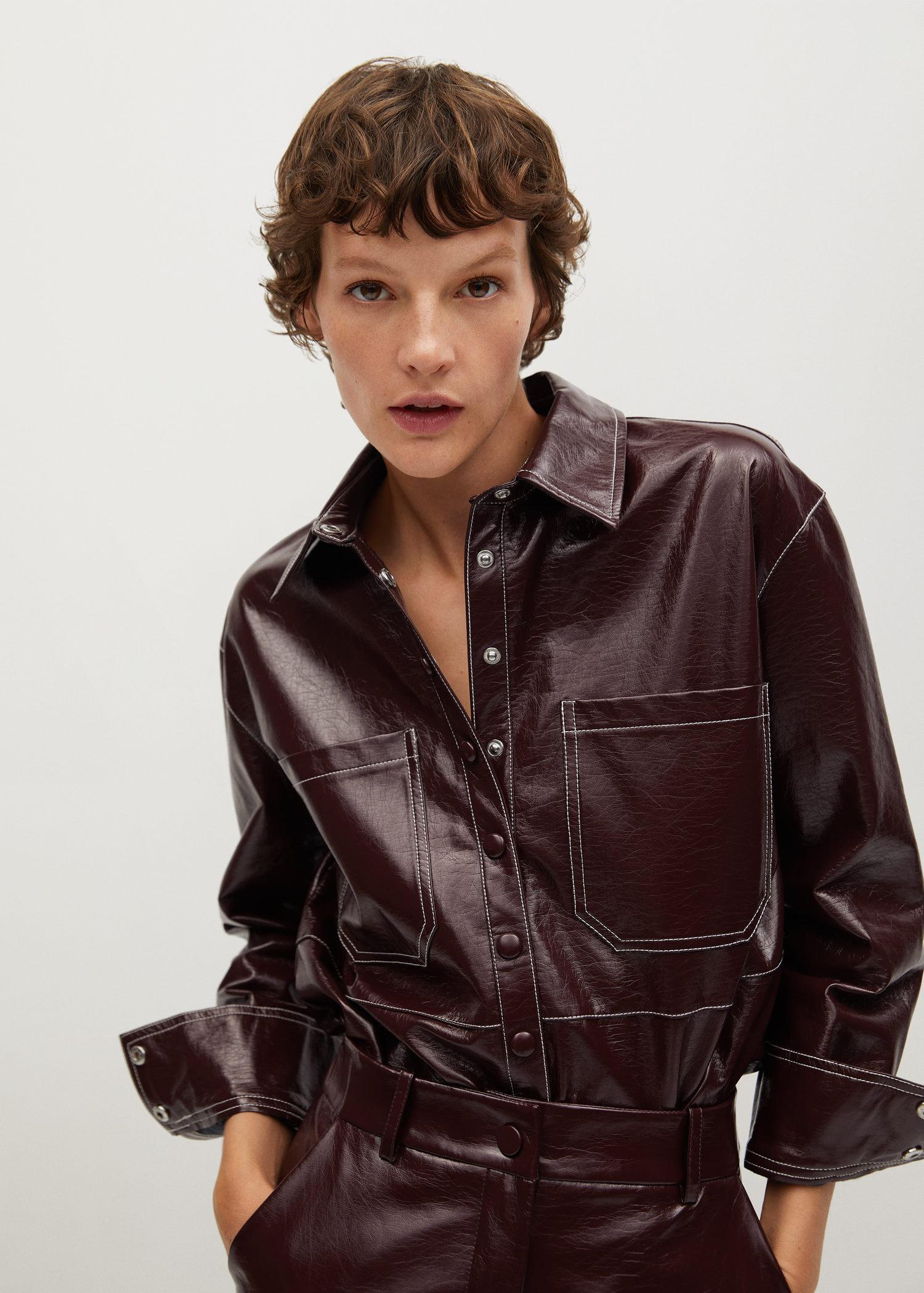 Patent finish overshirt with chest pockets