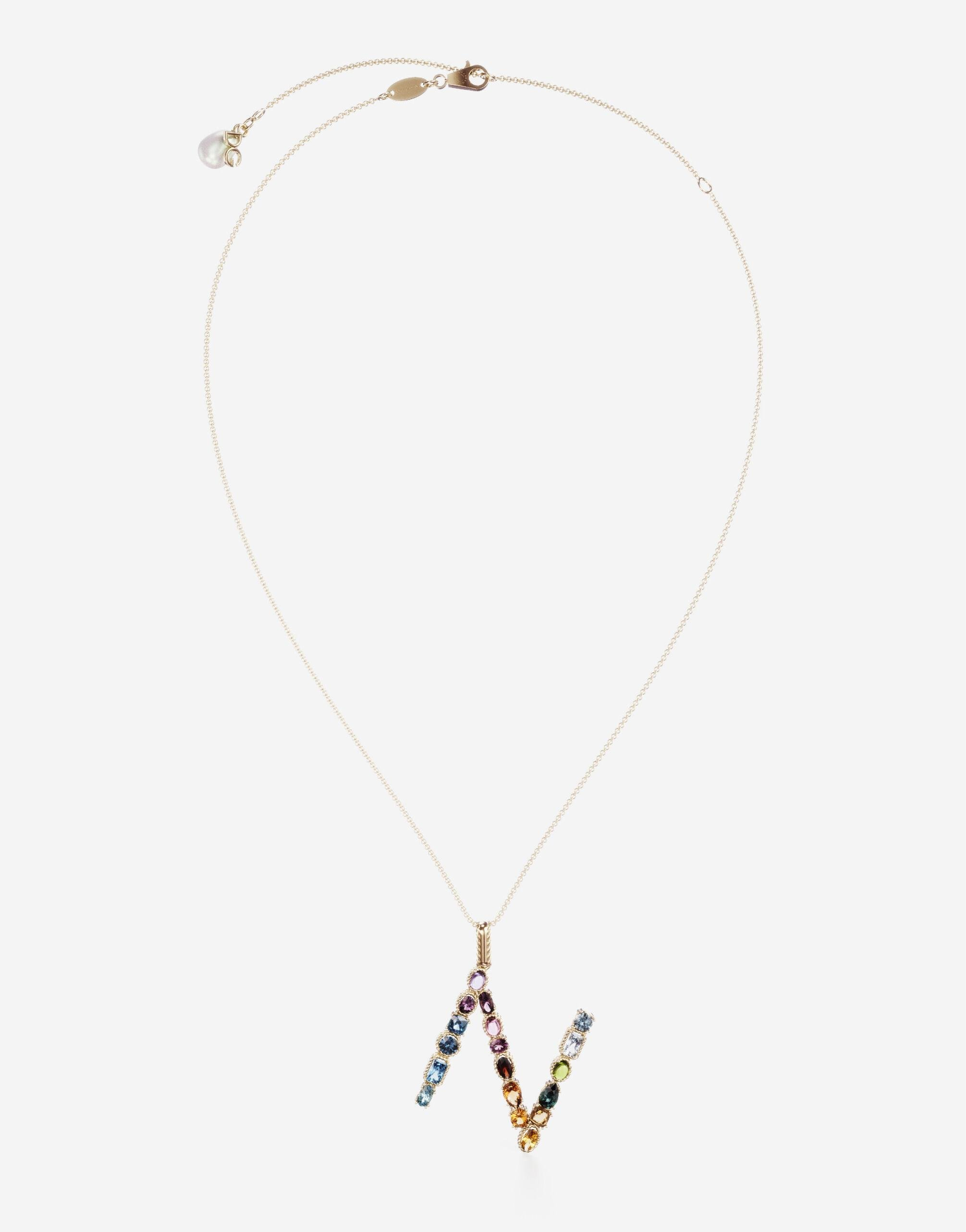 Rainbow alphabet N pendant in yellow gold with multicolor fine gems