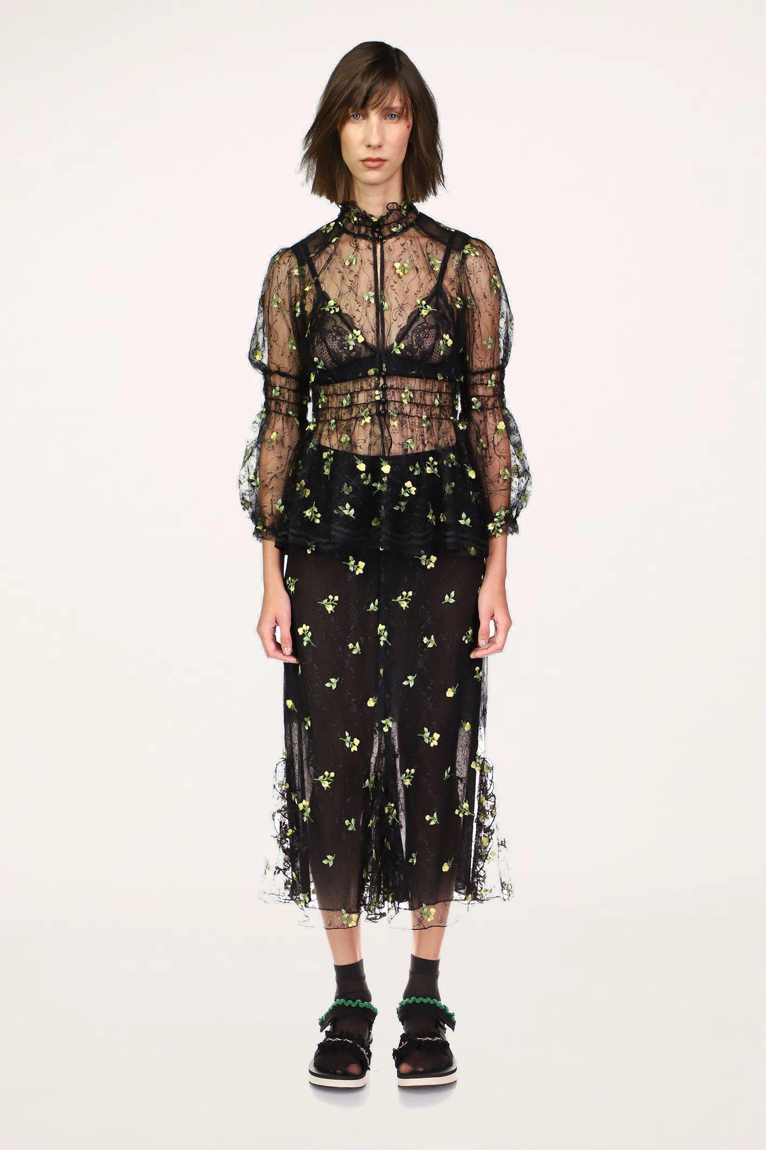 Scattered Blooms Lace Skirt
