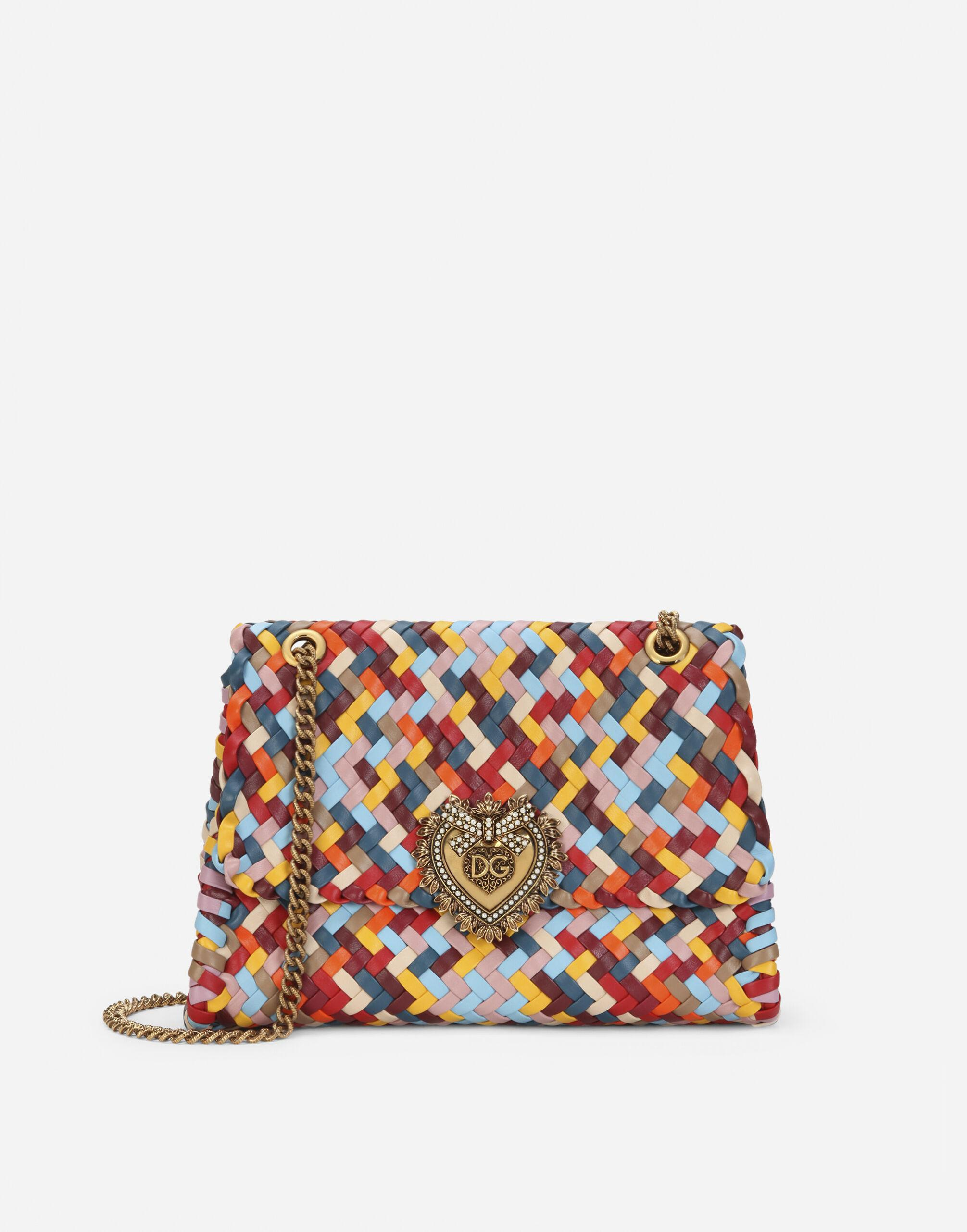 Large Devotion shoulder bag in multi-colored woven nappa leather
