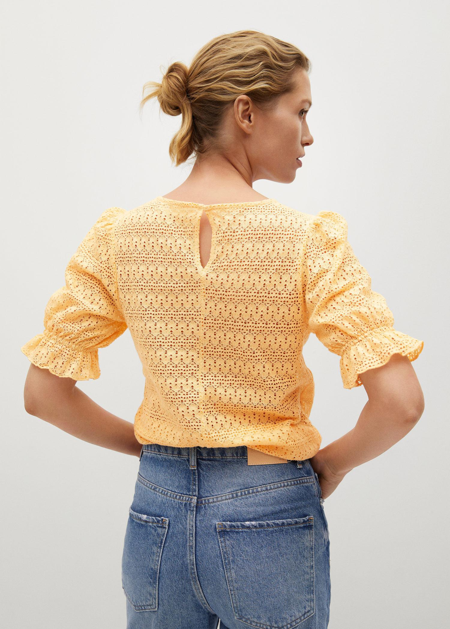 Cotton t-shirt with openwork detail 2