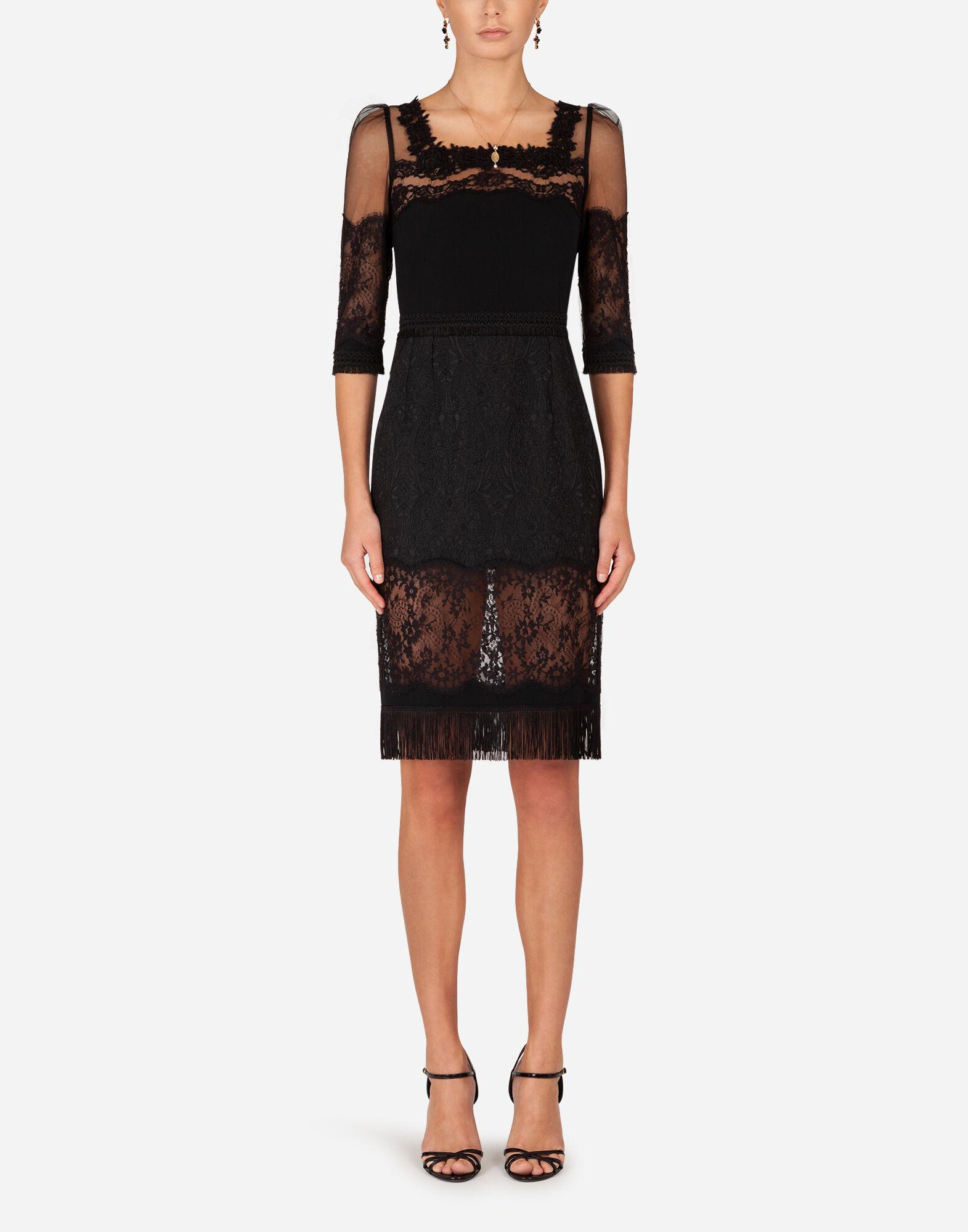 Cady and brocade midi dress with lace inserts