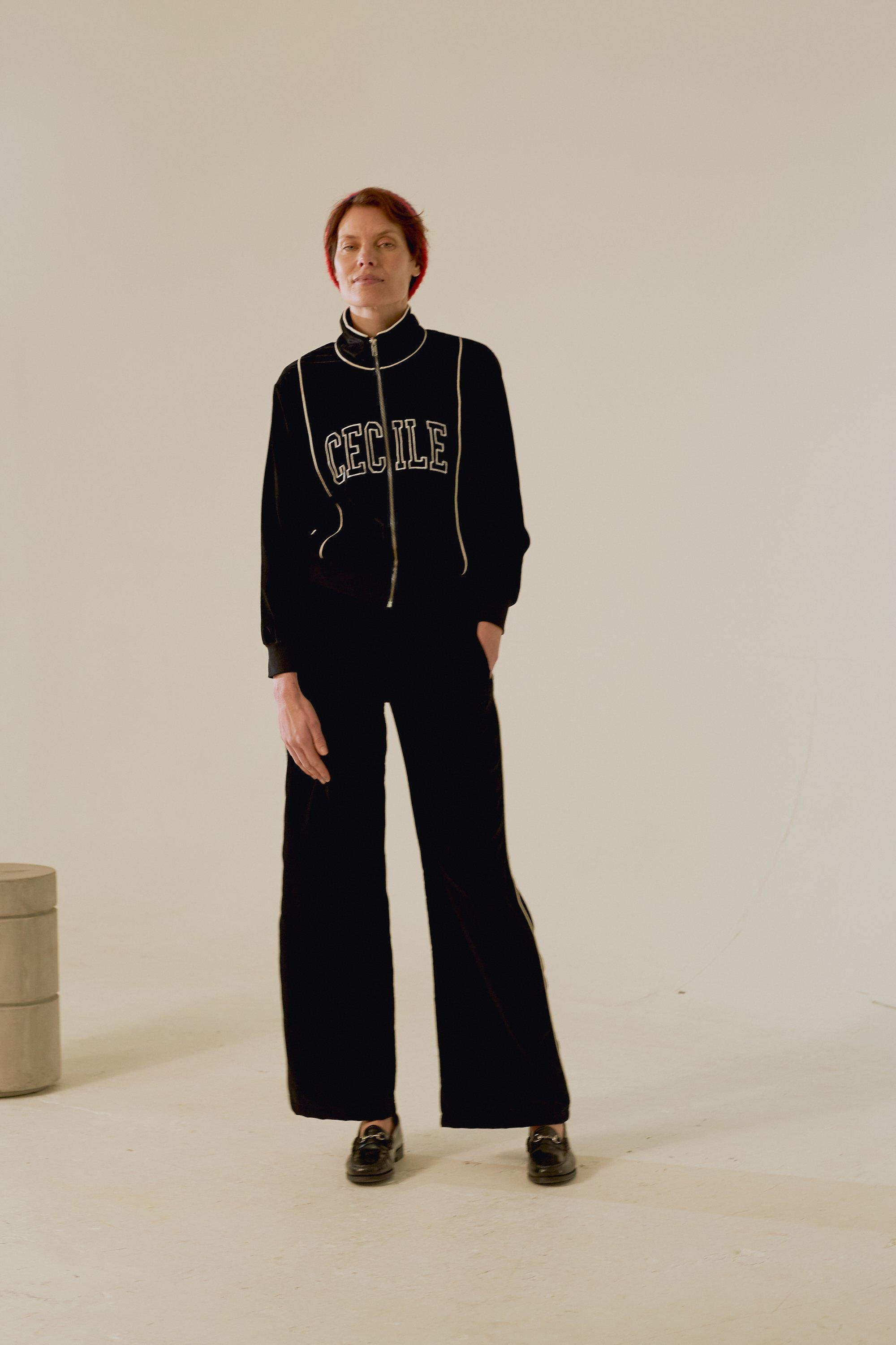Piping Wide Leg Track Pant