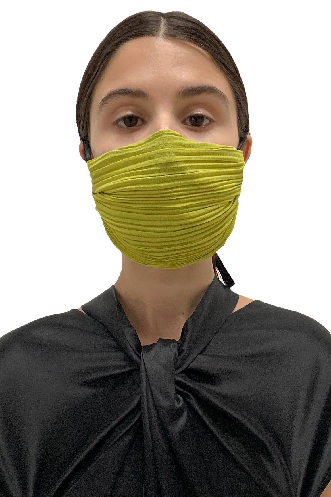 Chartreuse Pleated Face Masks 2