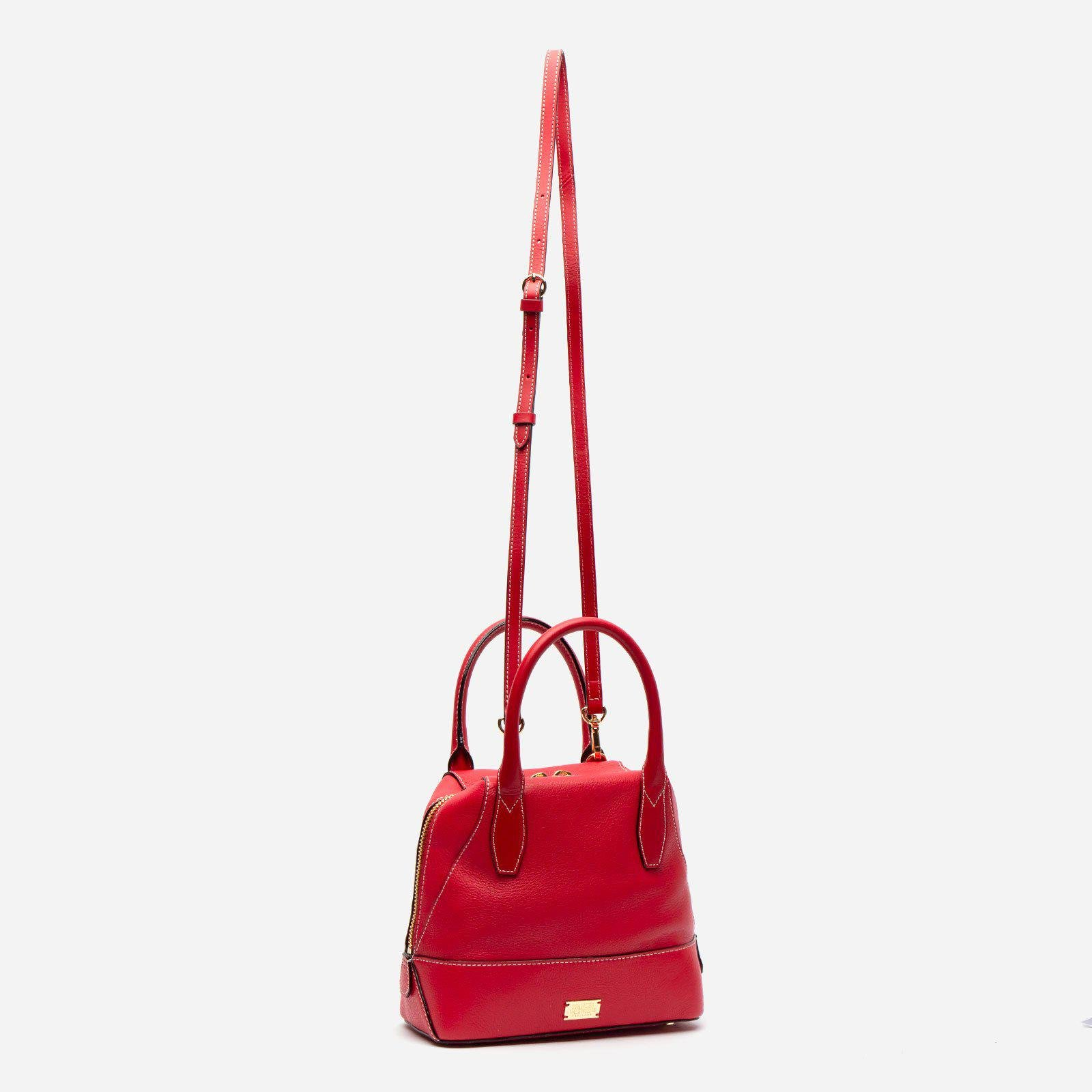 Small Abby Tote Tumbled Leather Red 2