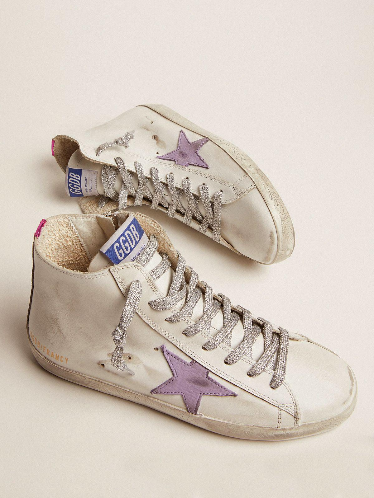 Francy sneakers with foxing with floral decorations and lavender-colored star 1