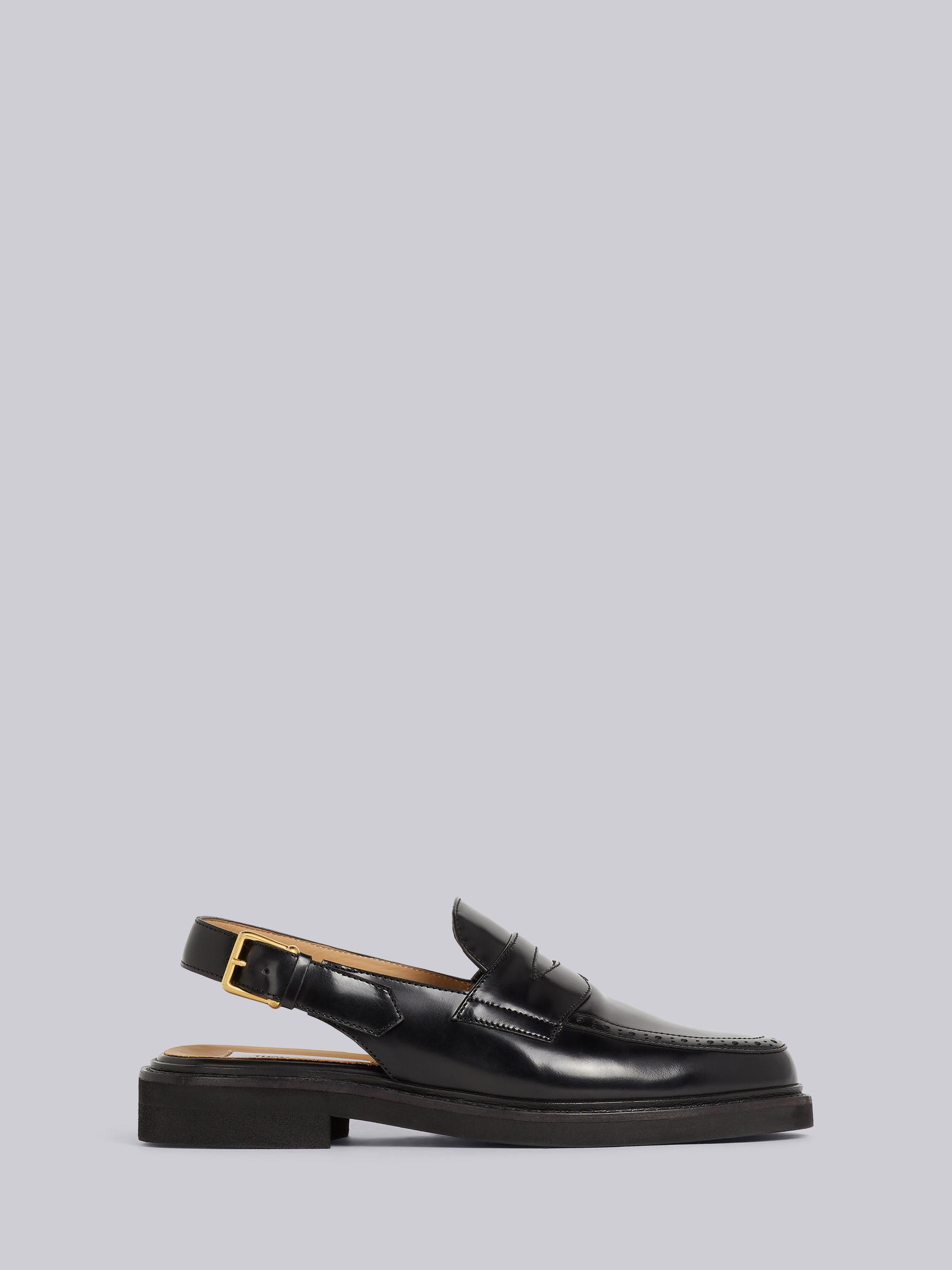 Black Calf Leather Micro Sole Slingback Penny Loafer