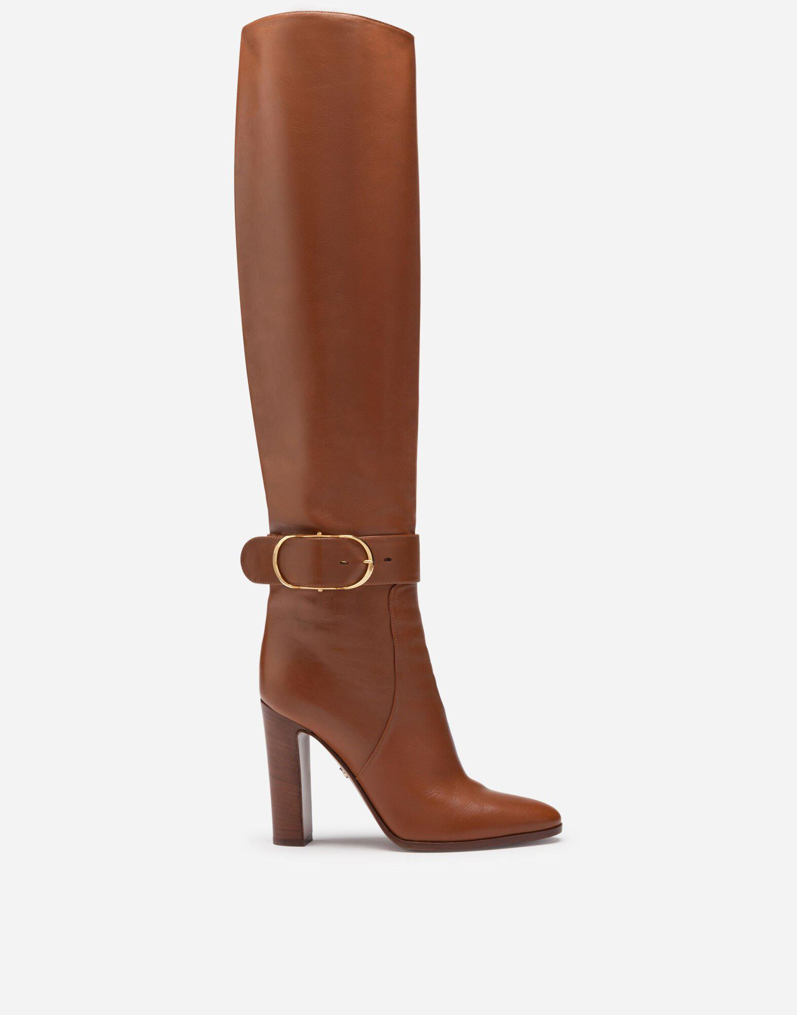 Boots in foulard calfskin with decorative buckle 0