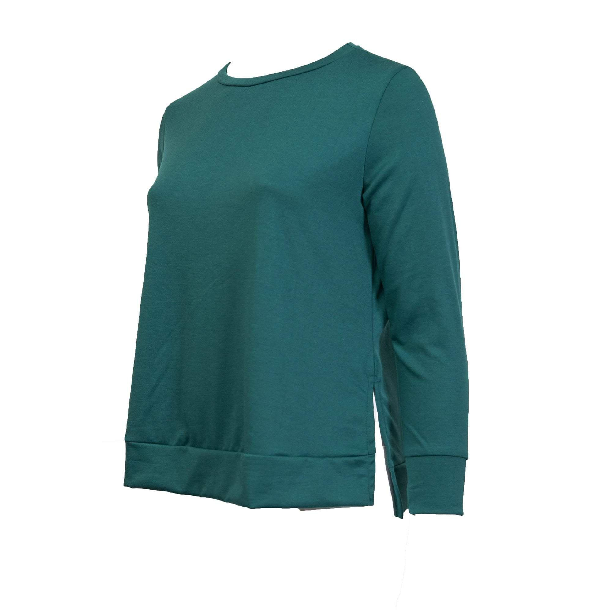 Side Slit Long Sleeve- Hunter Green French Terry