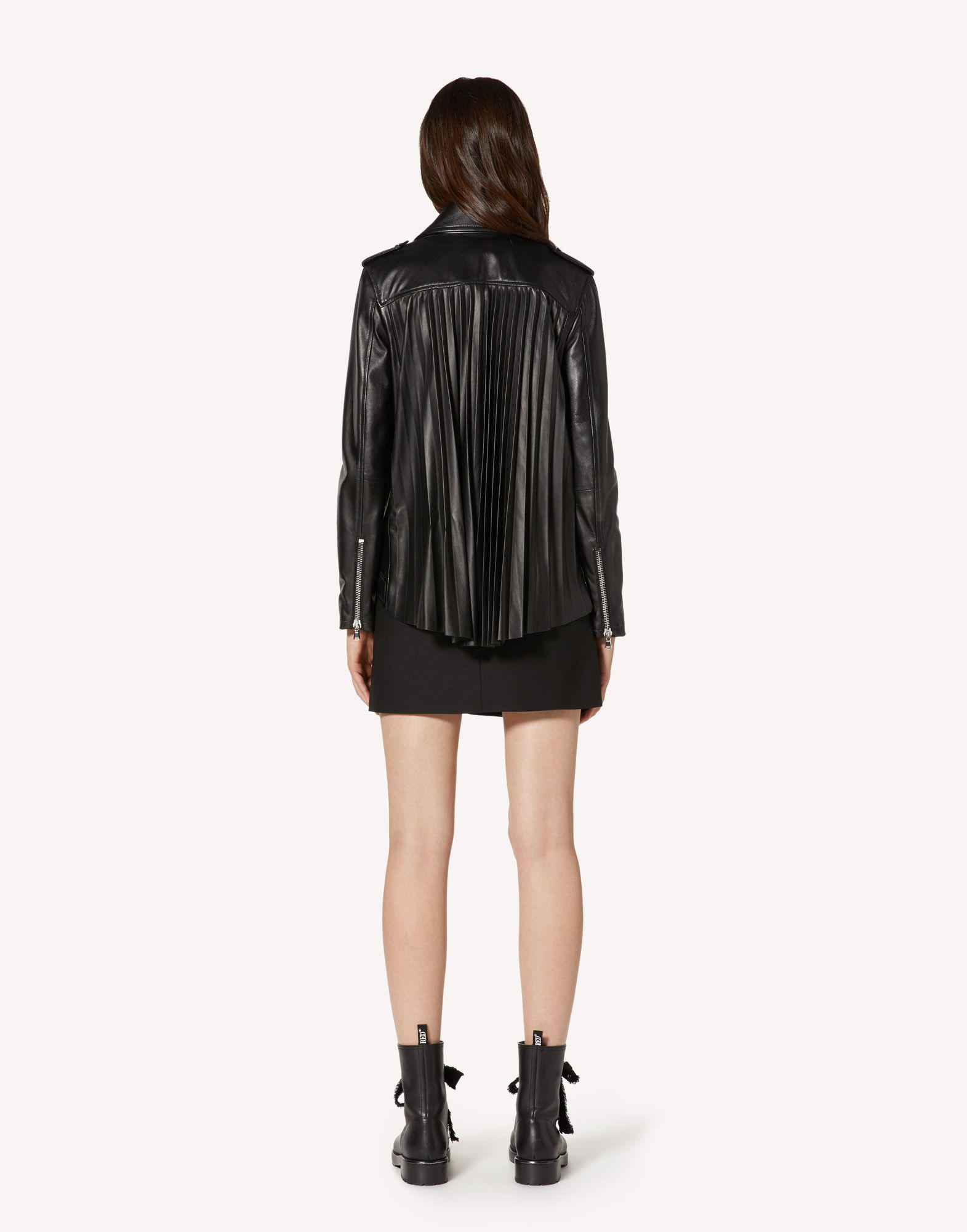 LEATHER BIKER JACKET WITH PLEATED DETAIL 1
