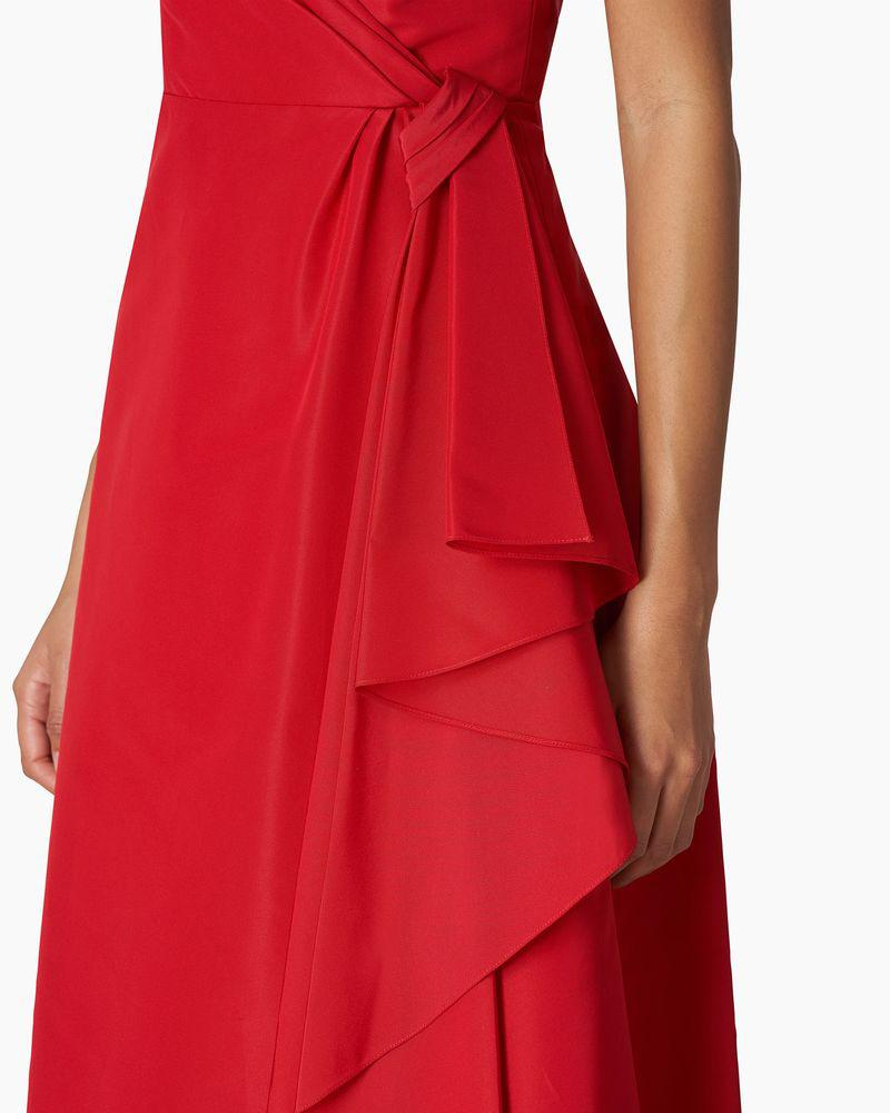 V-neck Gown With Cascade Draped Skirt 4