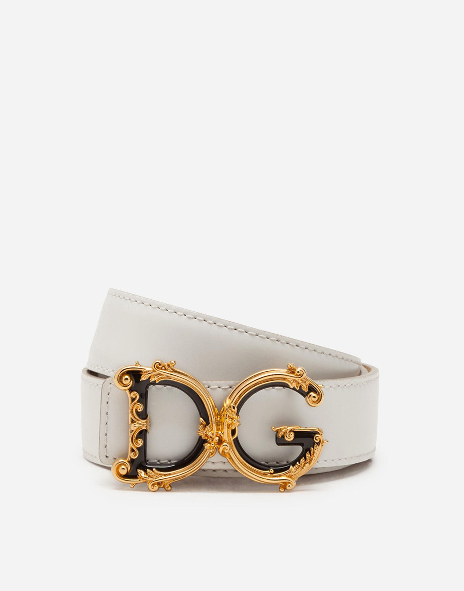 Leather belt with D&G baroque logo