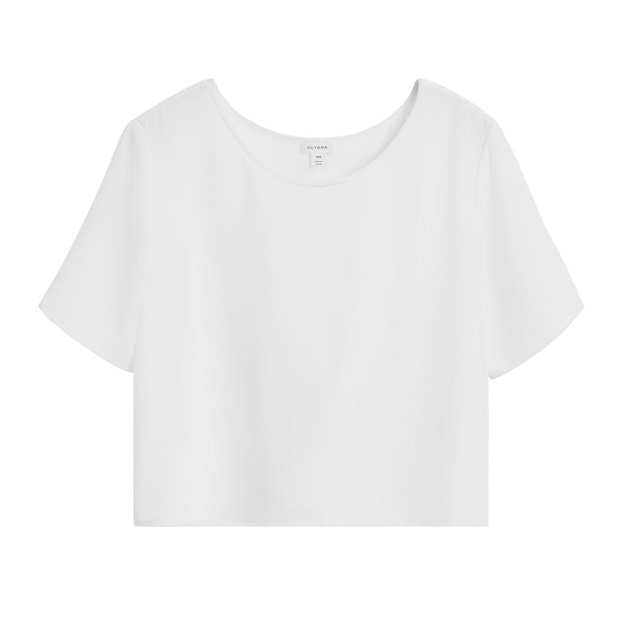 Women's Silk Cropped Tee in White | Size: