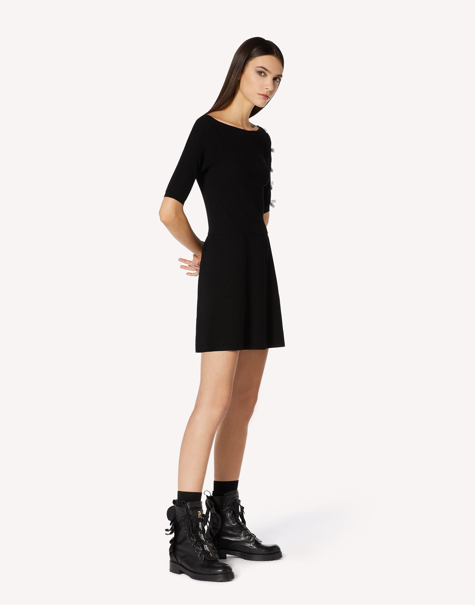 STRETCH VISCOSE KNIT DRESS WITH BOW DETAILS 2