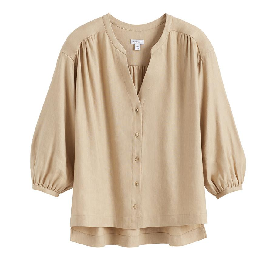 Women's Linen Button Front Blouse in Natural | Size: