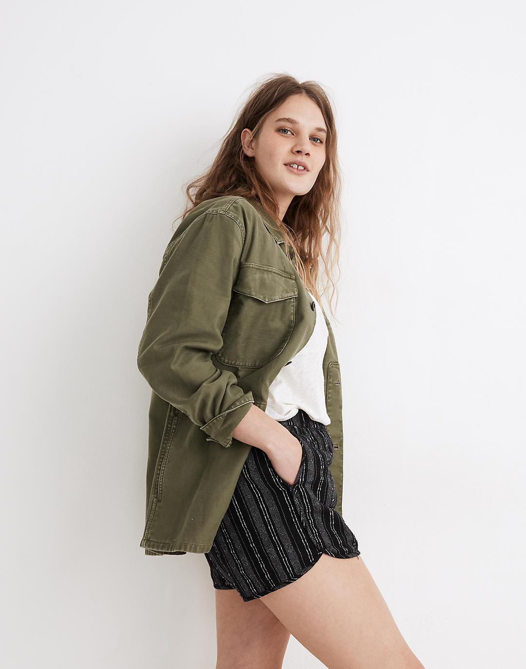 Linen-Cotton Pull-On Shorts in Jacquard Stripe 1