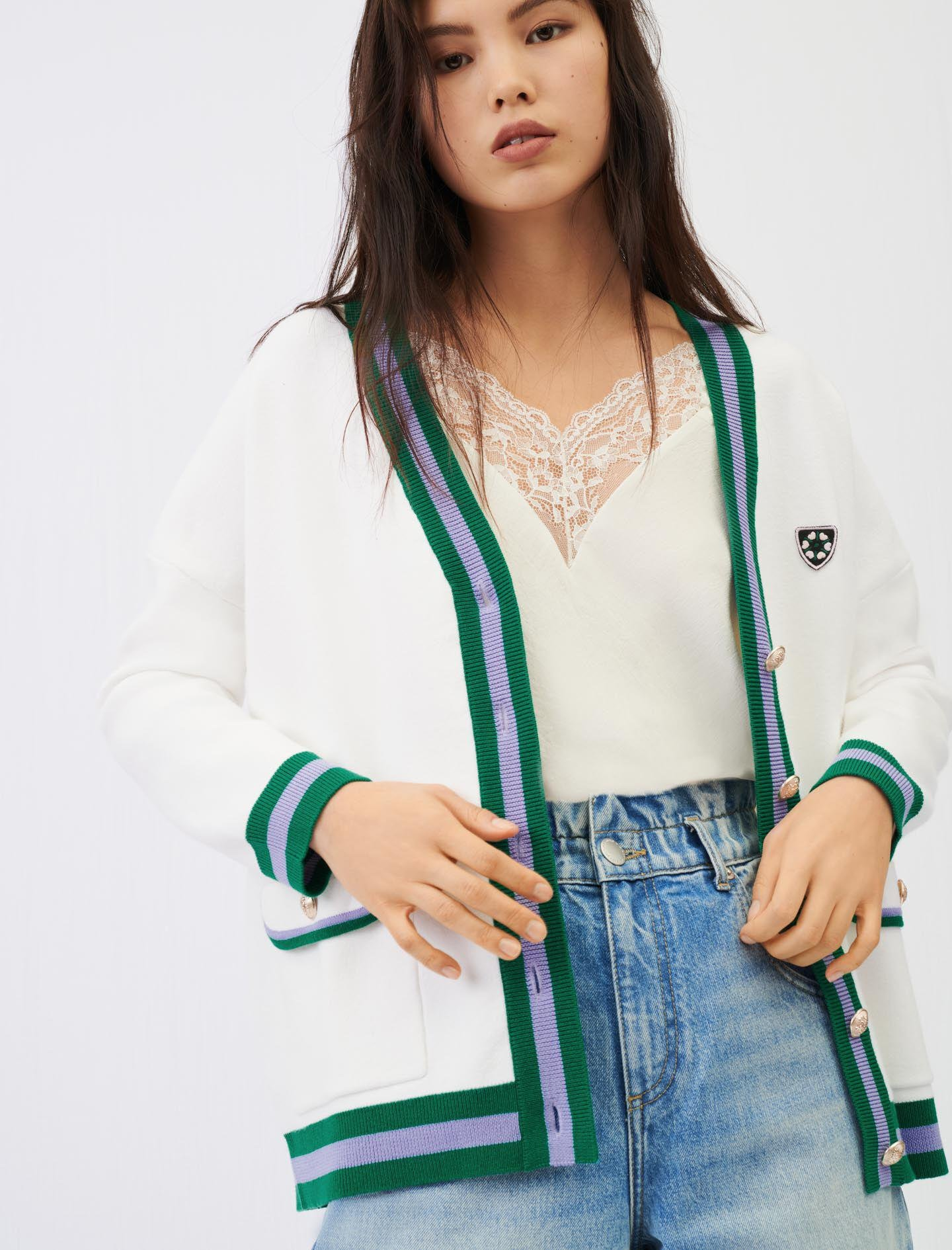 KNIT CARDIGAN WITH CONTRASTING BANDS 0