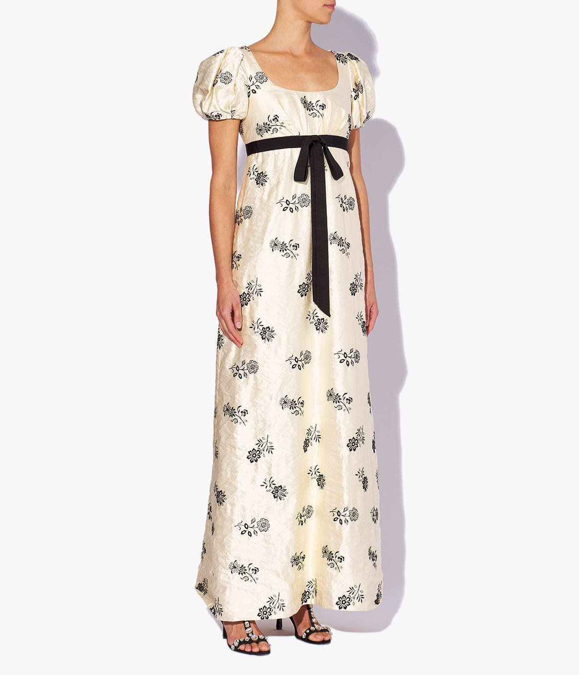 Leonore Gown Floral Embroidered Satin