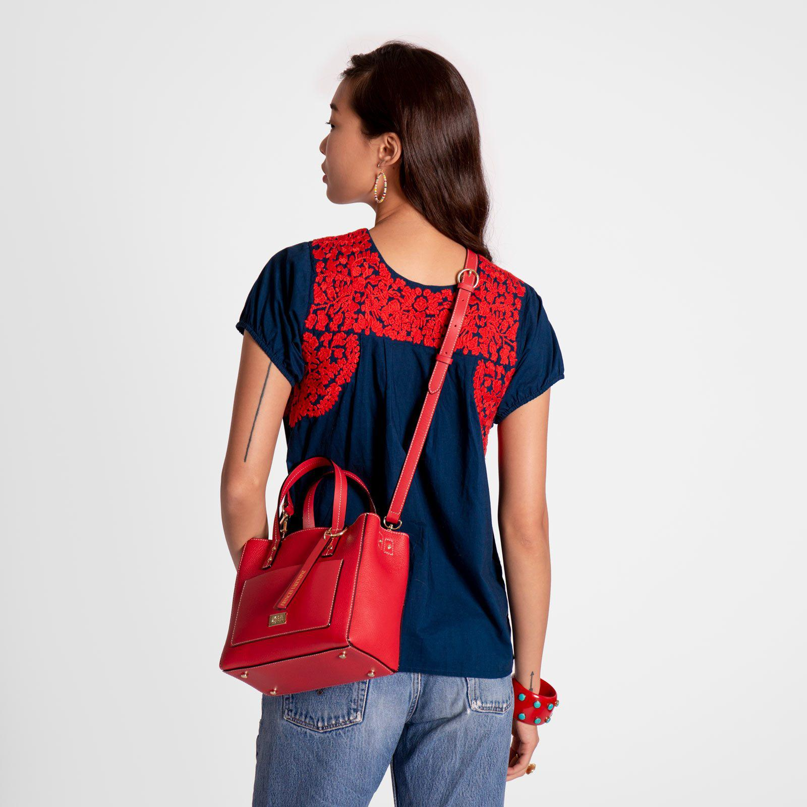 Small Chloe Tumbled Leather Red 6