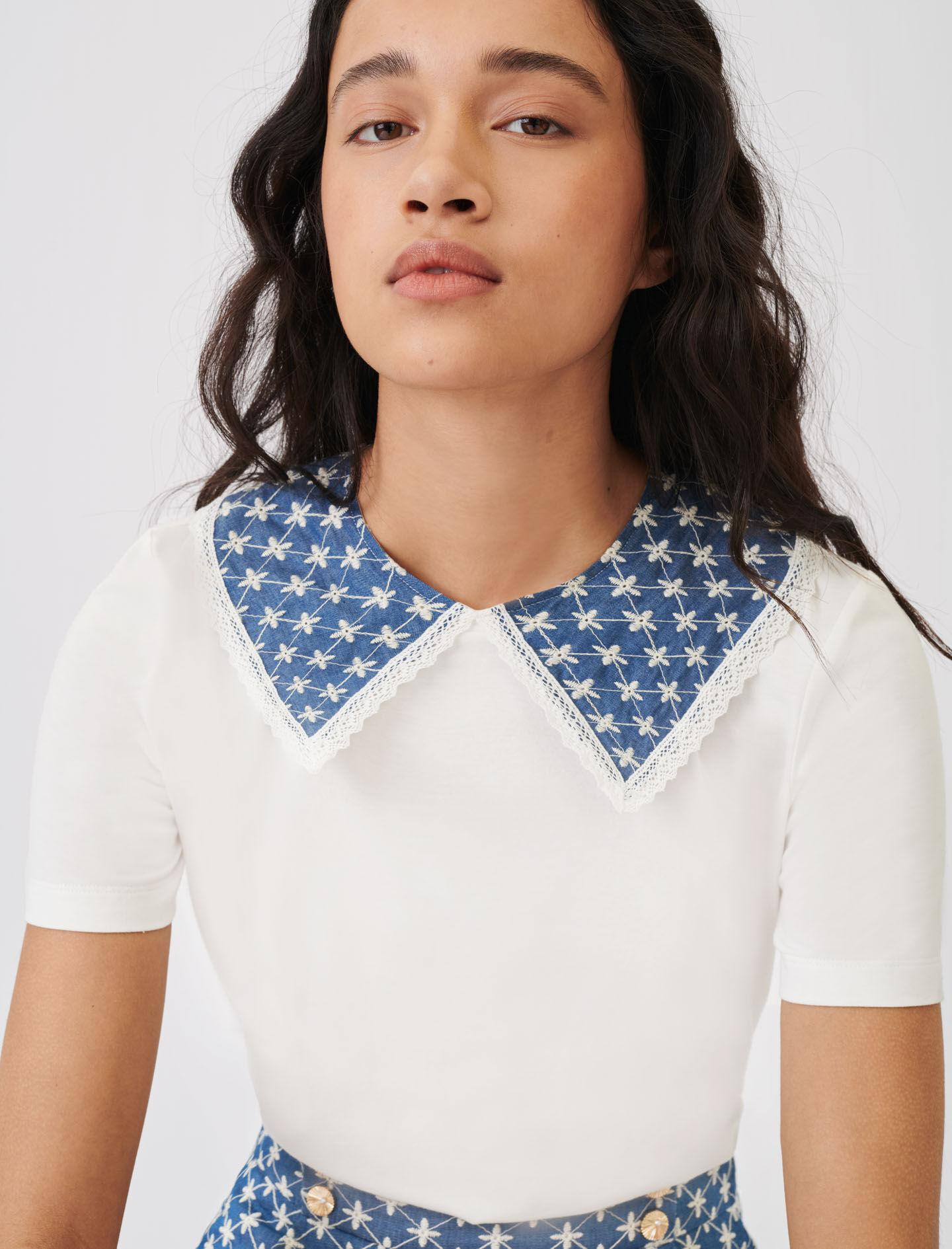 JERSEY T-SHIRT WITH EMBROIDERED COLLAR 2