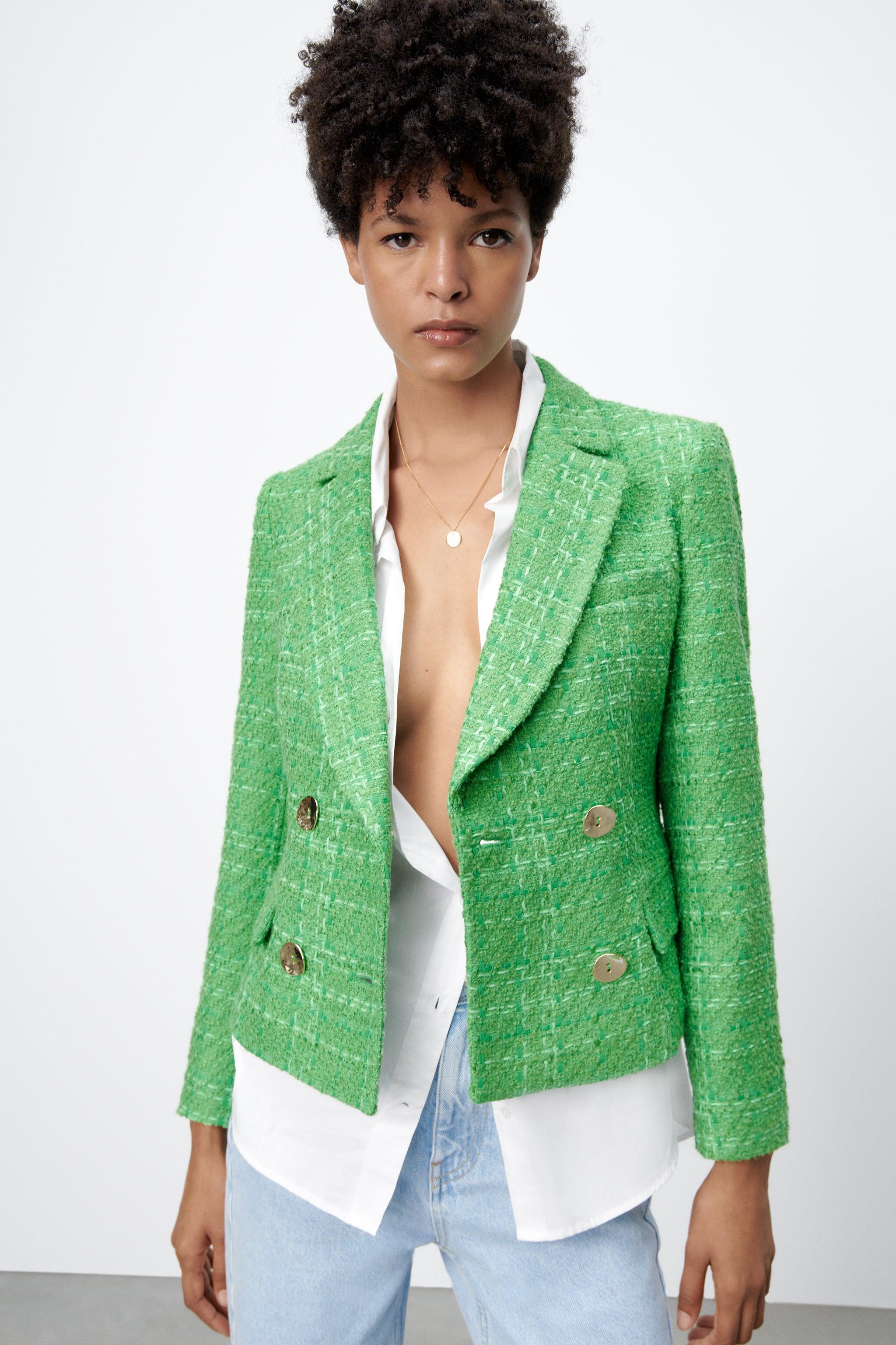 DOUBLE BREASTED TEXTURED WEAVE JACKET 1