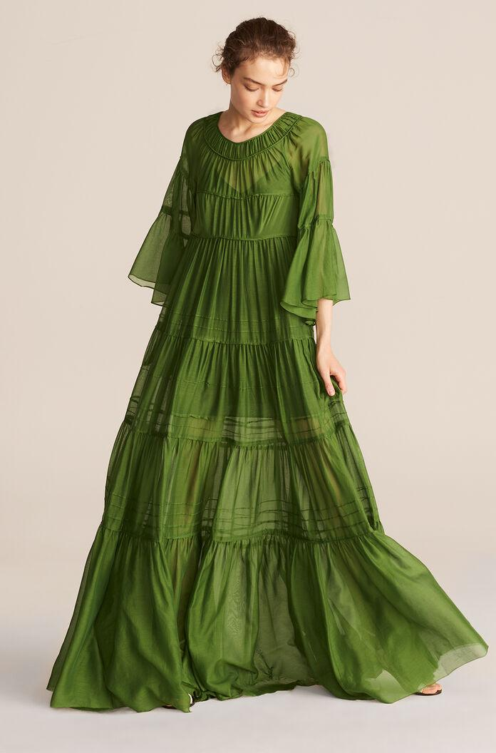 FULL LENGTH RUCHED TIER DRESS