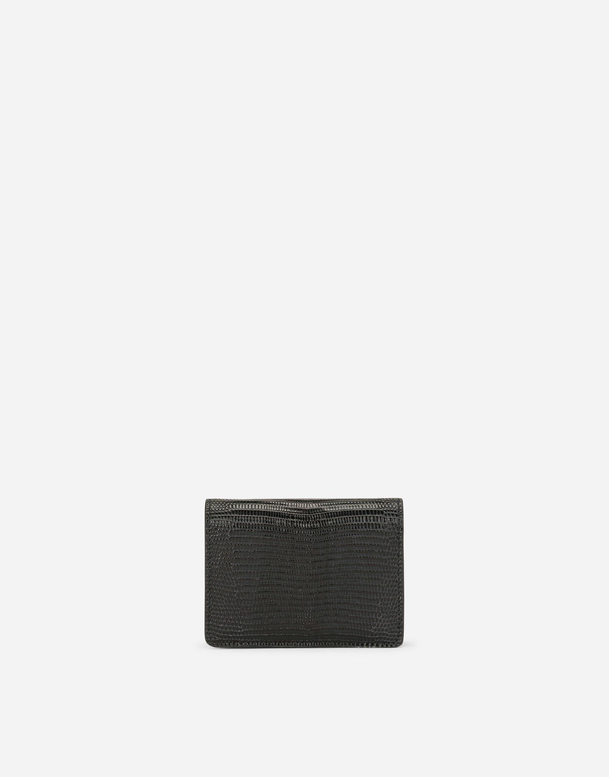 Small continental wallet in Dauphine calfskin with rhinestone-detailed DG logo 2