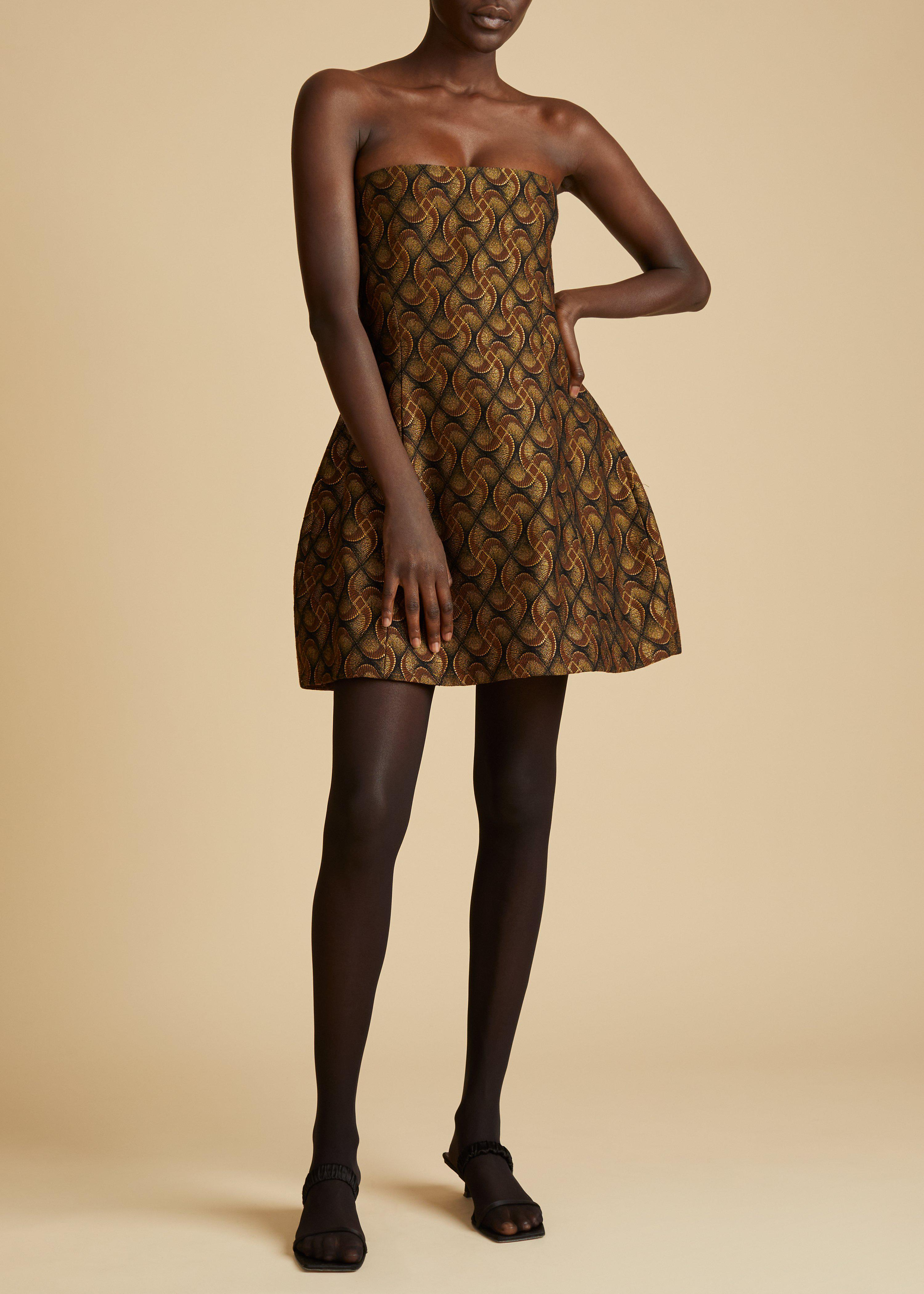 The Ginger Dress in Gold Jacquard