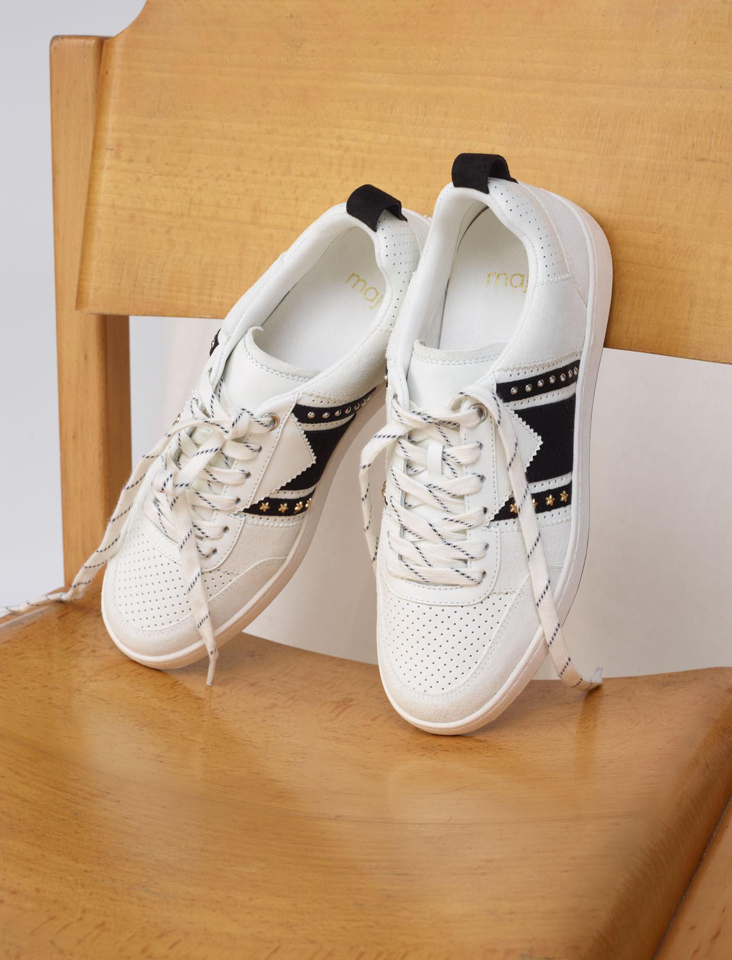 BLACK AND WHITE LEATHER SNEAKERS 1