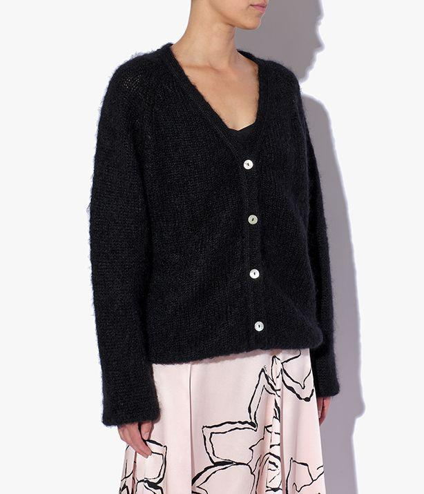 Marcilly Cardigan Mohair Knit Black